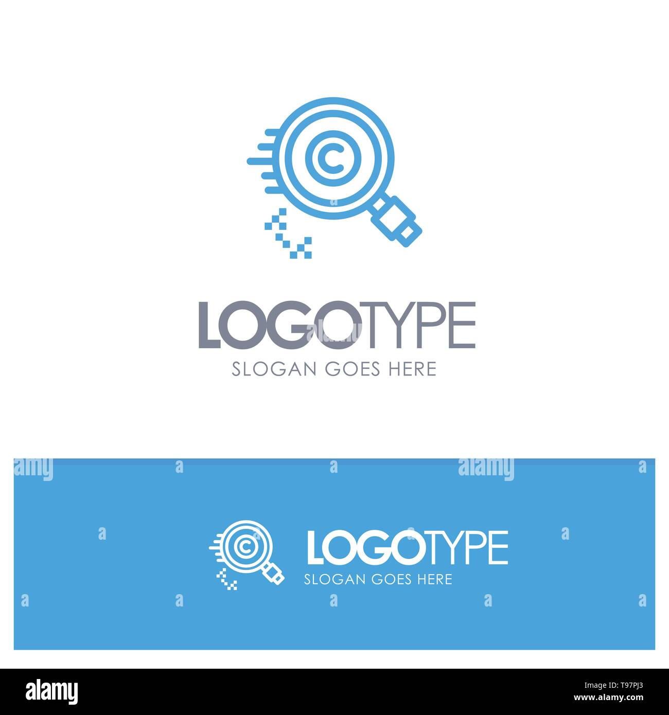 Content, Copyright, Find, Owner, Property Blue outLine Logo with place for tagline - Stock Image