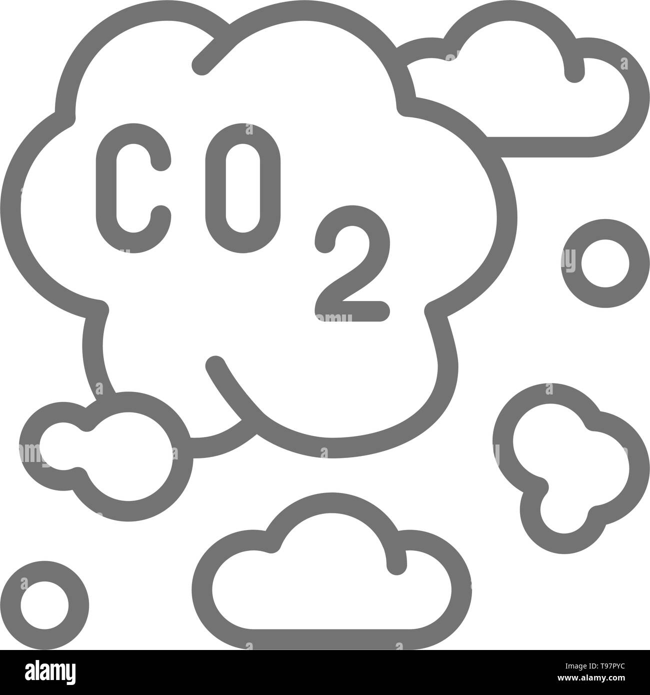 Air pollution, industrial smog, co2 emissions line icon. - Stock Image