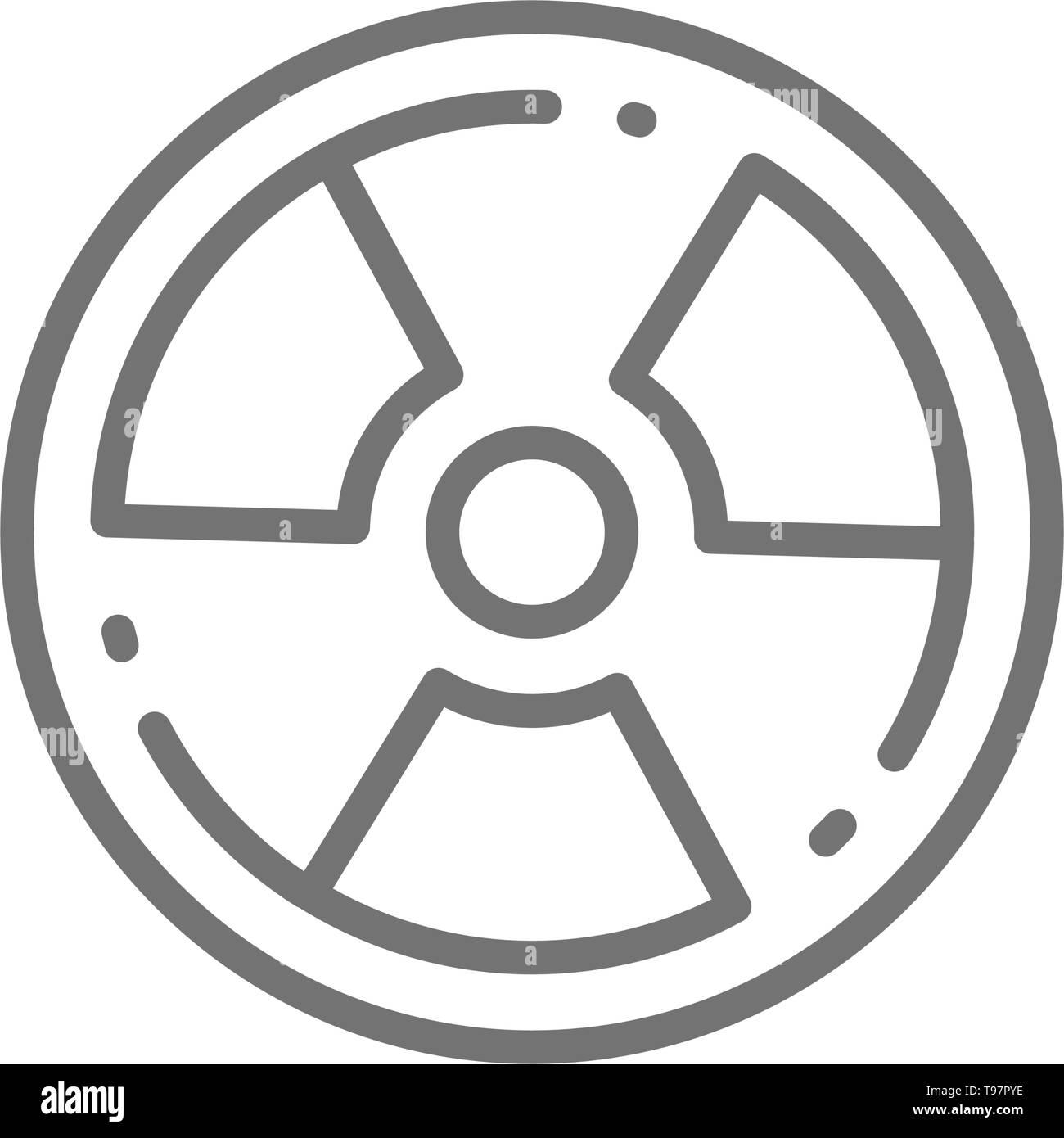 Radioactive warning sign, radiation, nuclear line icon. - Stock Vector