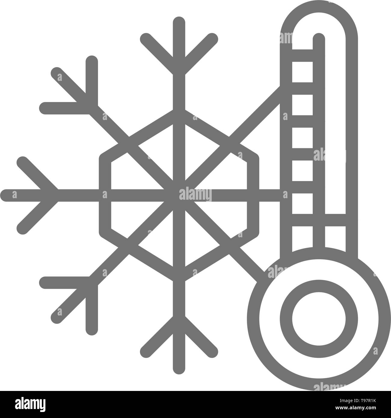 Snowflake with a thermometer, low temperature, frost line icon. - Stock Image