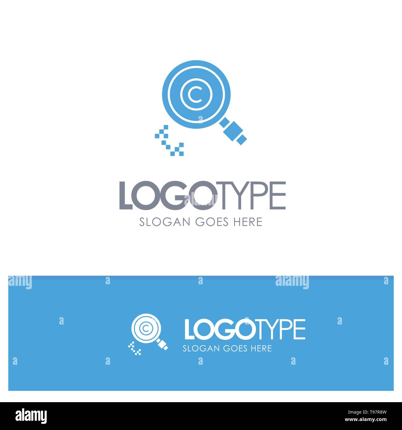 Content, Copyright, Find, Owner, Property Blue Solid Logo with place for tagline Stock Vector