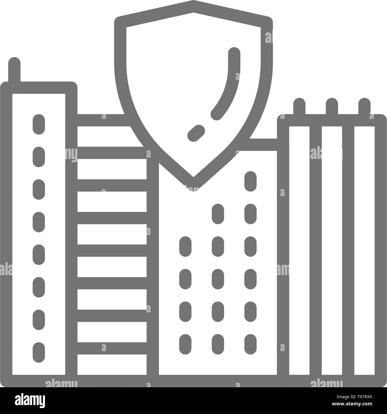 Safe city, town with shield, secure line icon. - Stock Vector