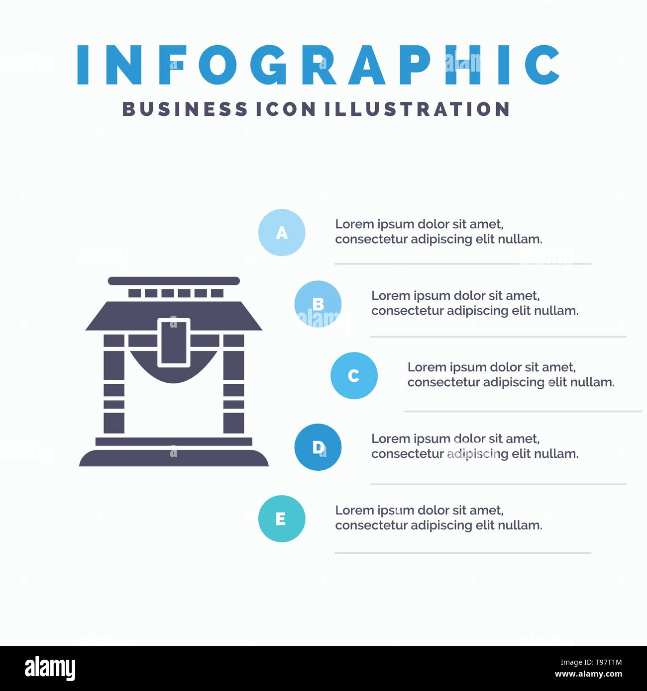 Door, Bridge, China, Chinese Infographics Presentation Template. 5 Steps Presentation - Stock Image