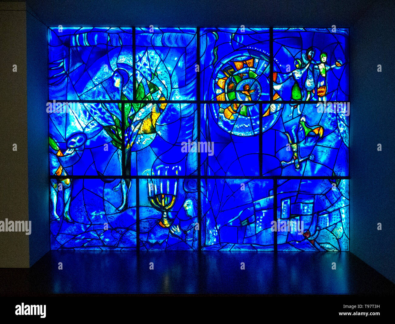 On display at the Art Institute of Chicago, artist Marc Chagall's stained glass 'American Windows' depict the arts,American history and the Chicago skyline as a celebration of the American bicentennial. - Stock Image