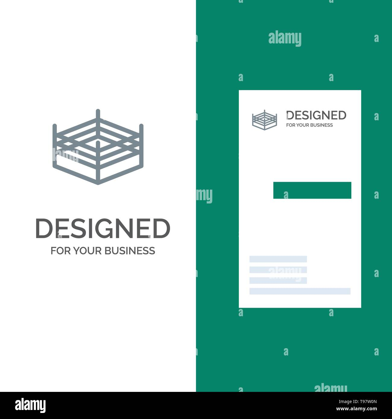Boxing, Ring, Wrestling Grey Logo Design and Business Card Template - Stock Image