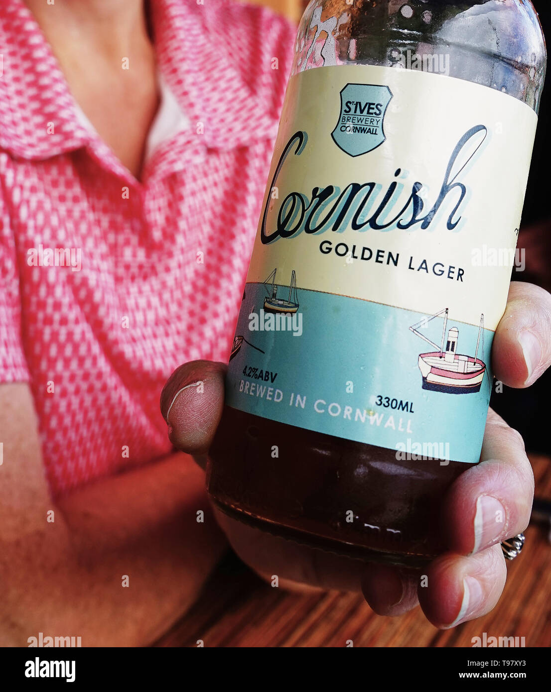 Close-up of Bottle of Cornish Golden Lager craft brew from