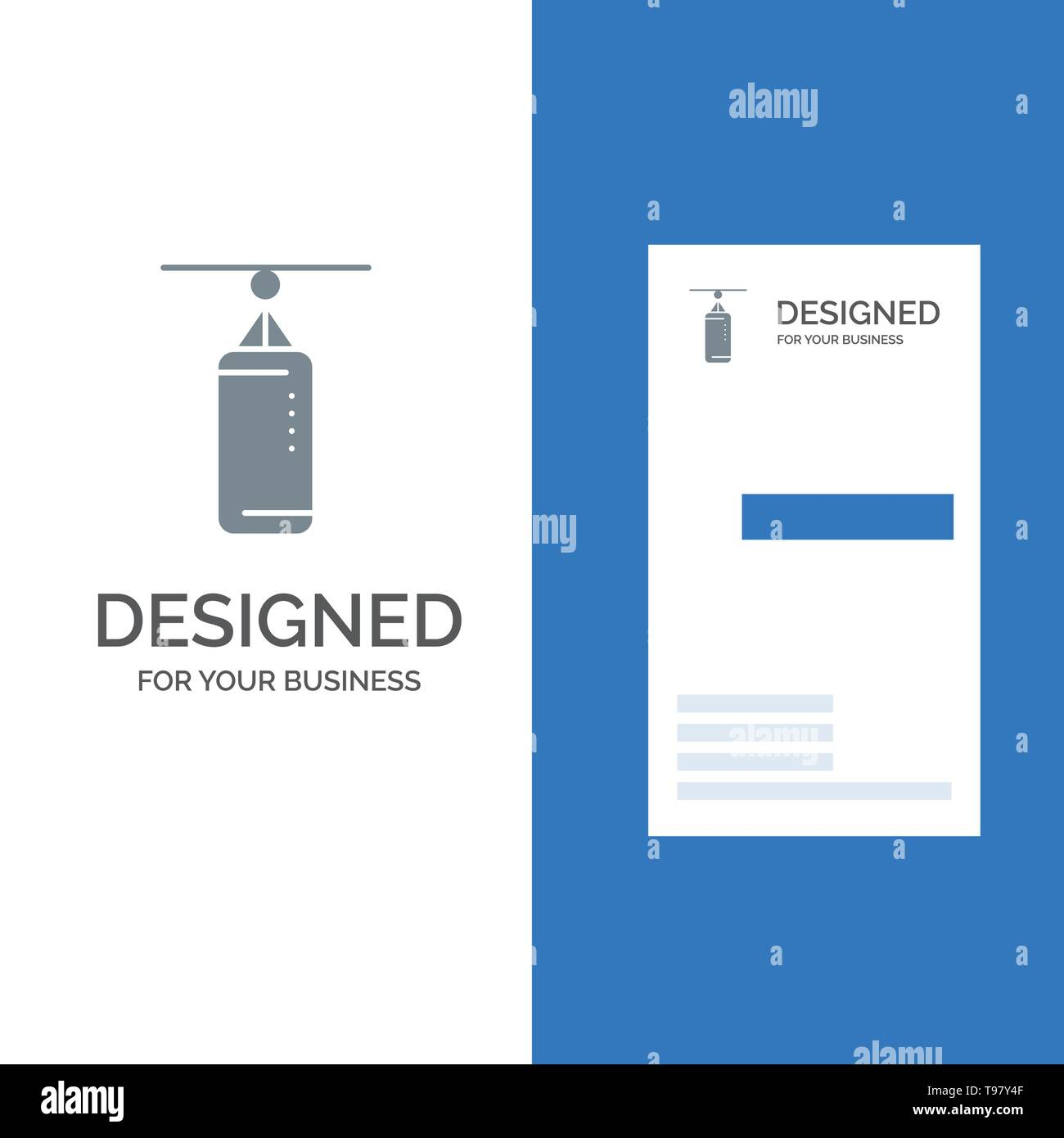 Bag, Boxing, Punch bag, Punching Grey Logo Design and Business Card Template - Stock Image