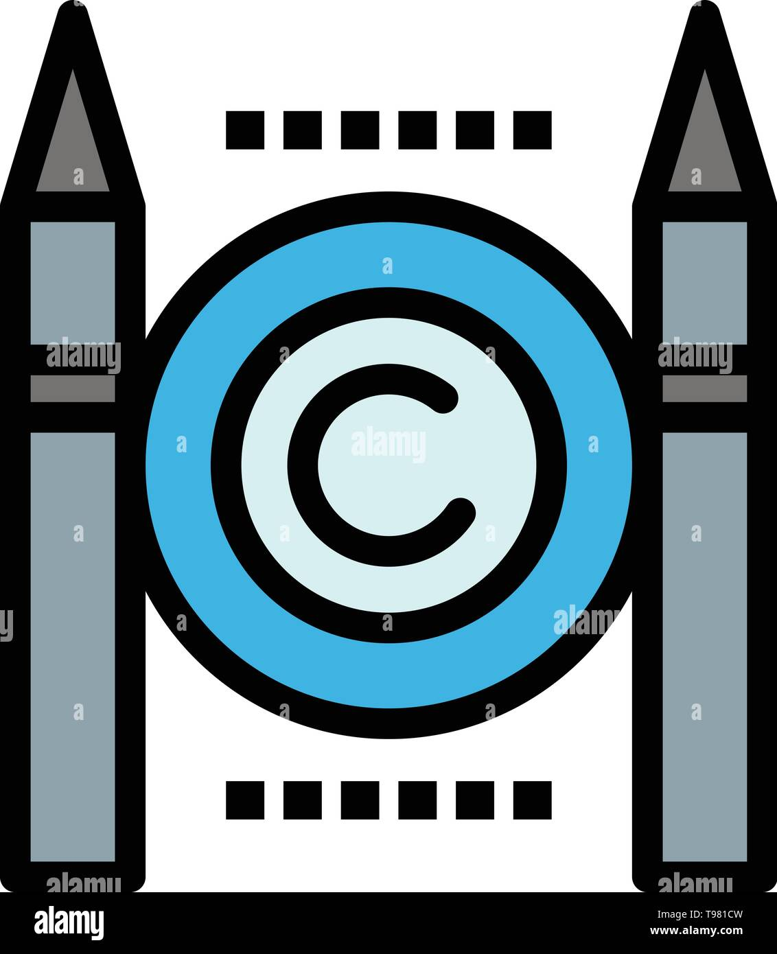 Business, Conflict, Copyright, Digital  Flat Color Icon. Vector icon banner Template - Stock Image