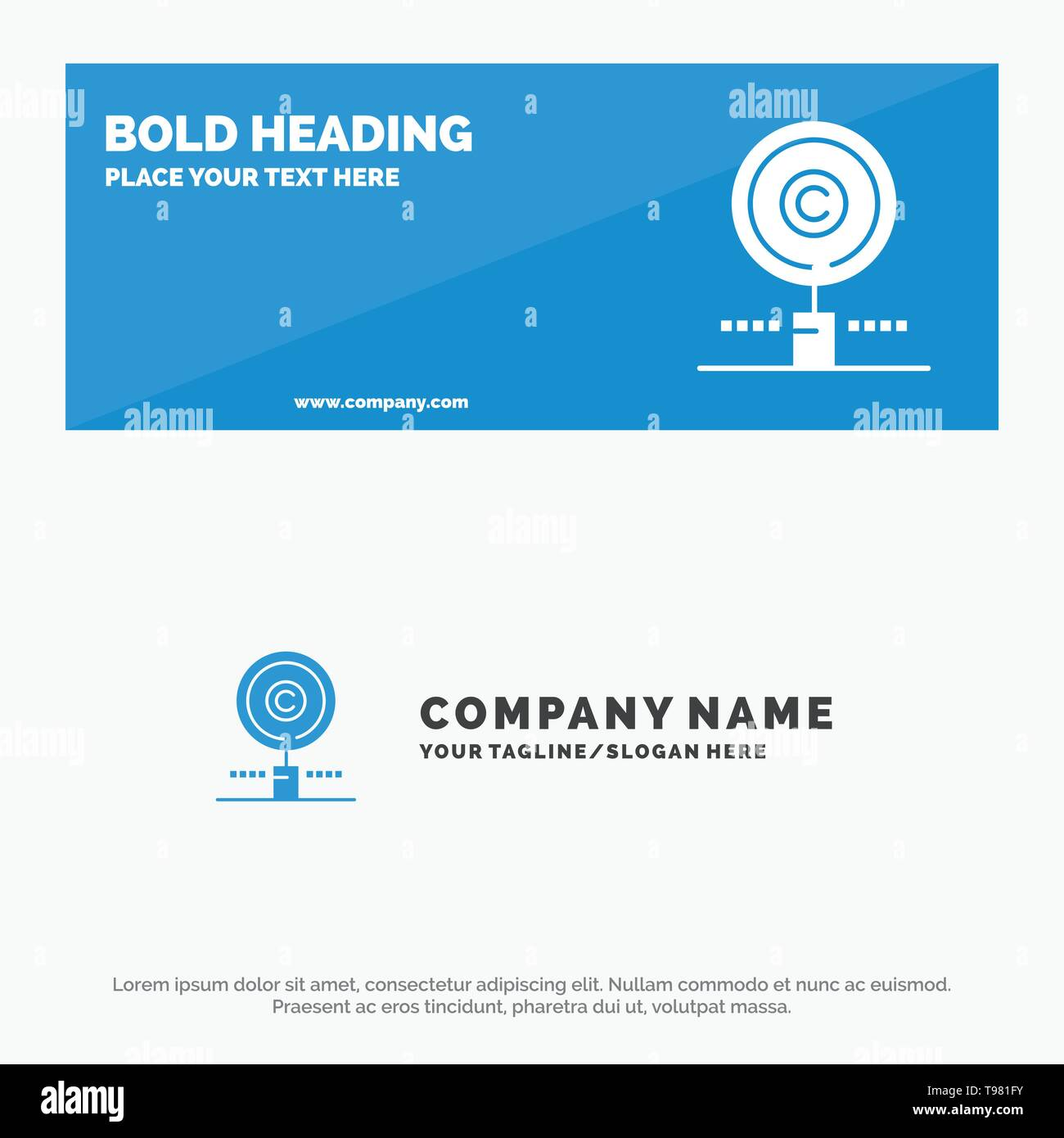 Content, Copyright, Find, Owner, Property SOlid Icon Website Banner and Business Logo Template - Stock Image