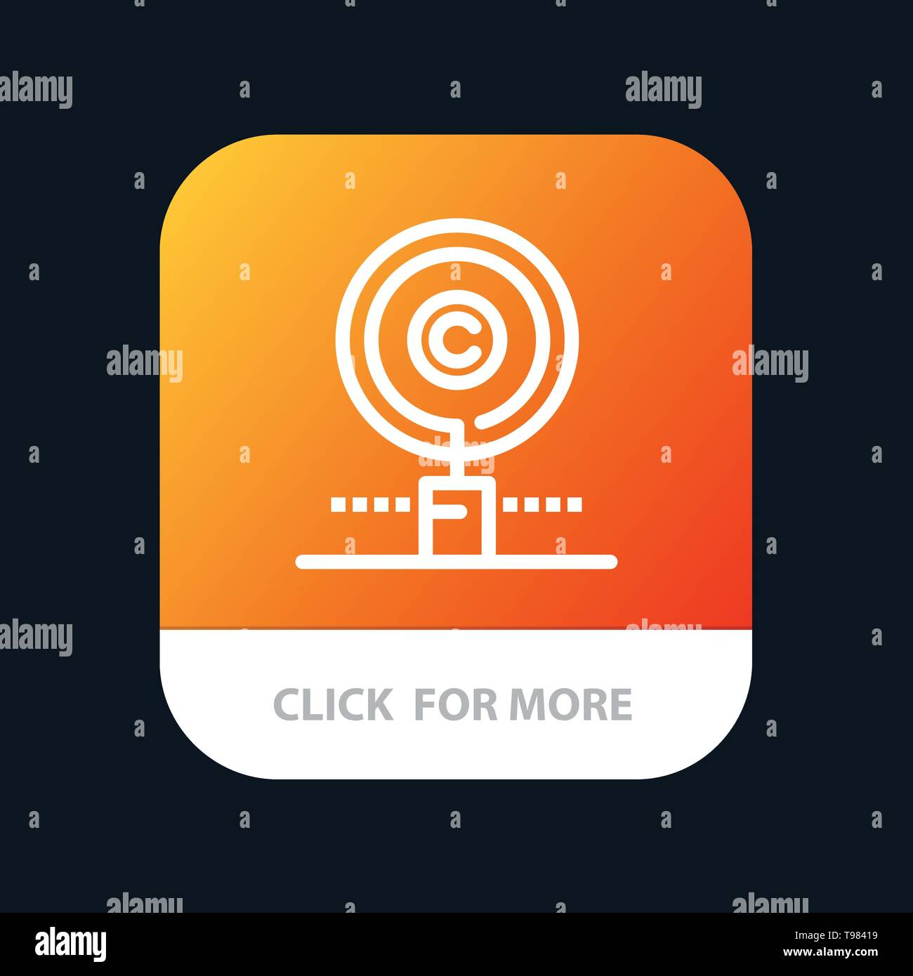 Content, Copyright, Find, Owner, Property Mobile App Button. Android and IOS Line Version Stock Vector