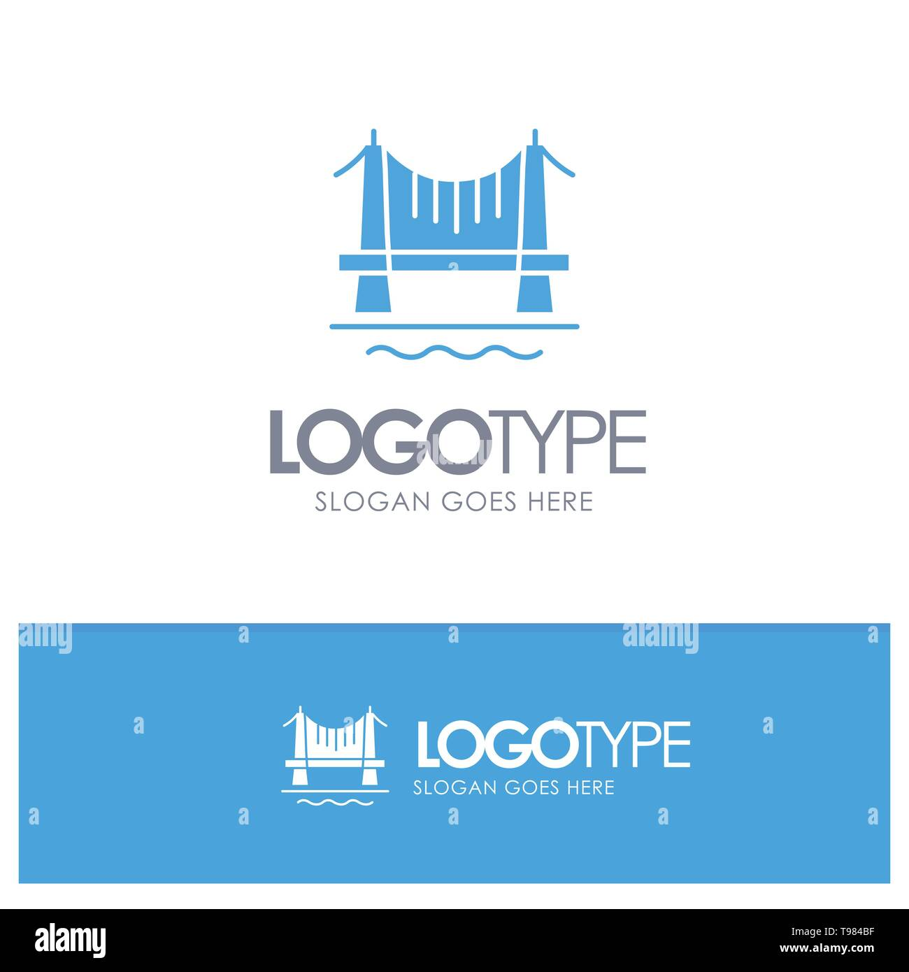 Bridge, Building, City, Cityscape Blue Solid Logo with place for tagline - Stock Image