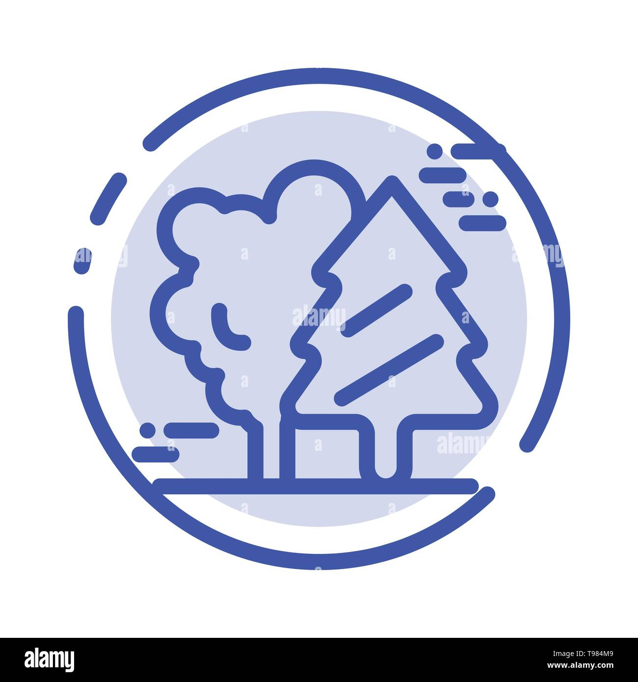 Alpine, Arctic, Canada, Pine Trees, Scandinavia Blue Dotted Line Line Icon - Stock Image