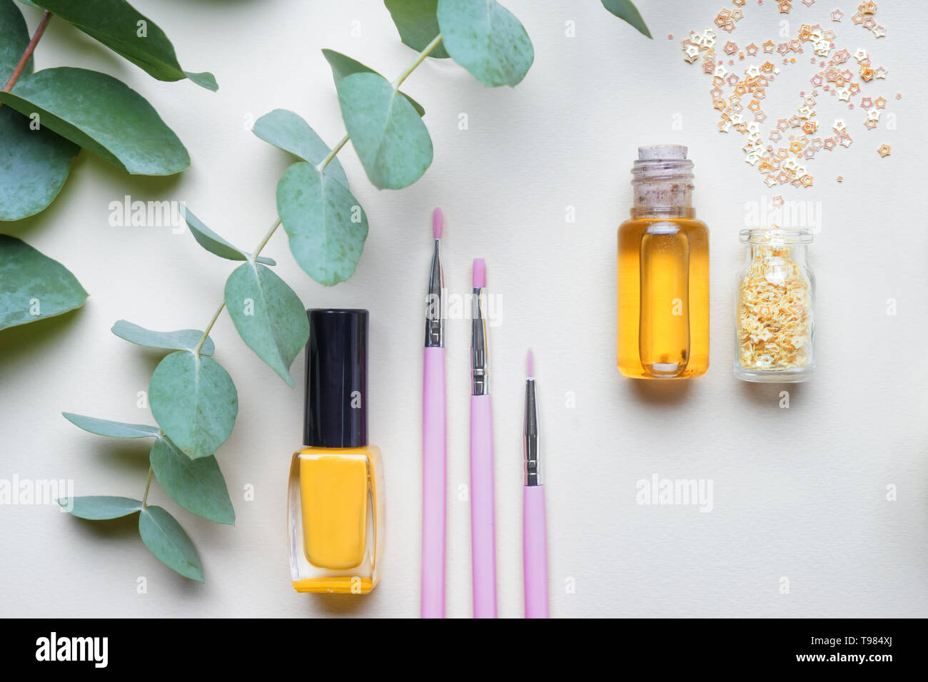 Composition with cosmetic products on light background - Stock Image