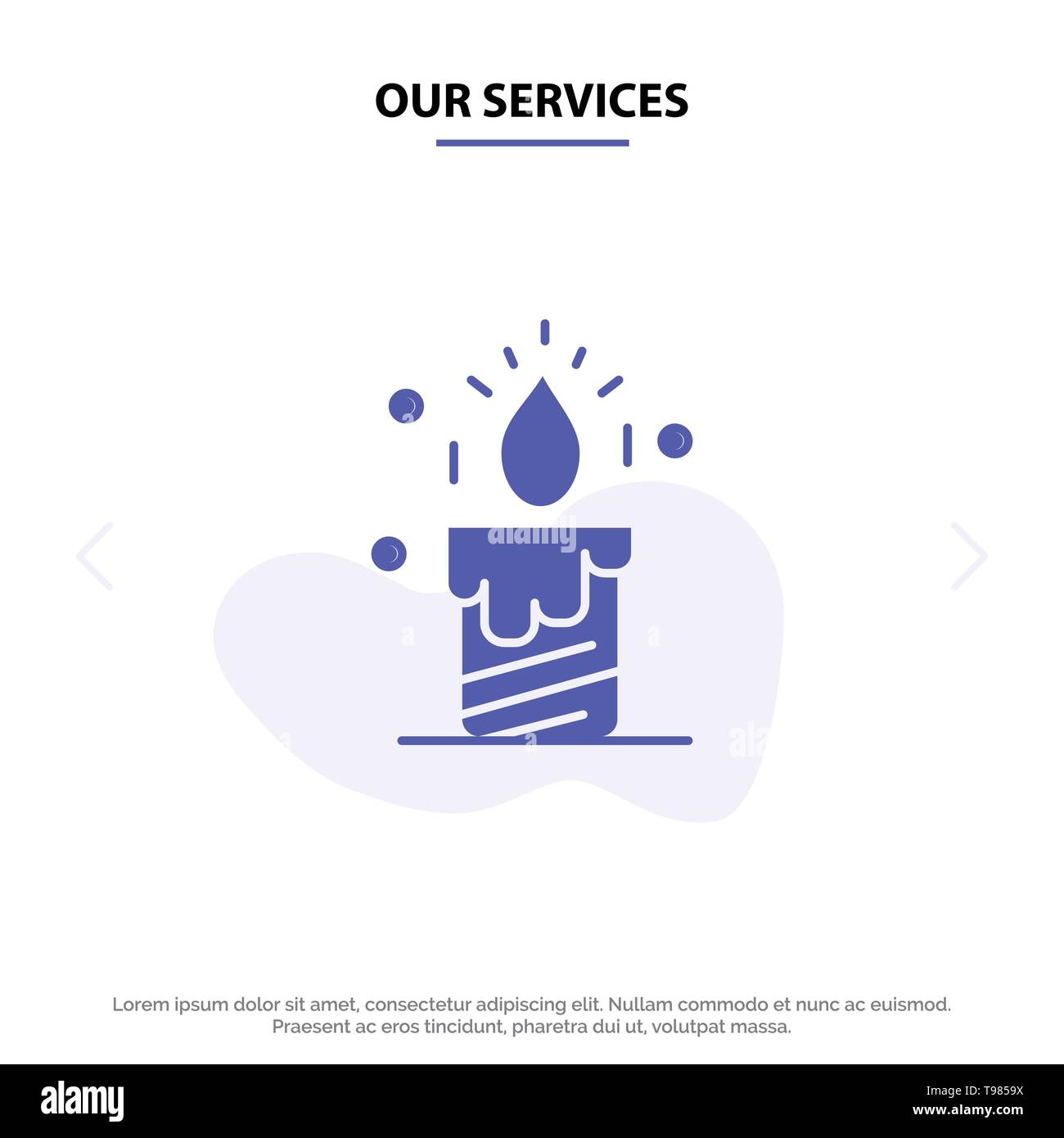 Our Services Candle, Light, Wedding, Love Solid Glyph Icon Web card Template - Stock Image