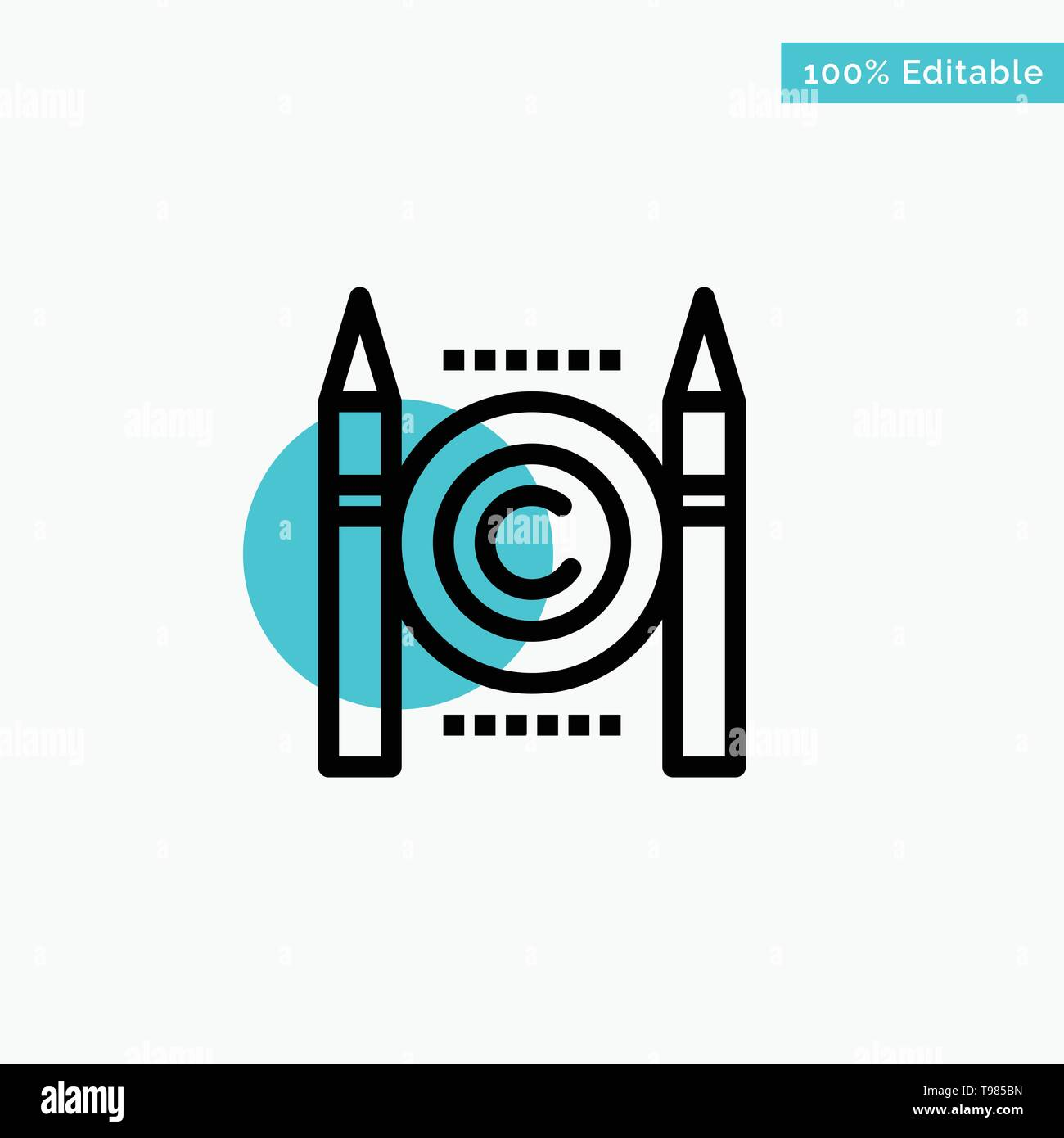 Business, Conflict, Copyright, Digital turquoise highlight circle point Vector icon - Stock Image
