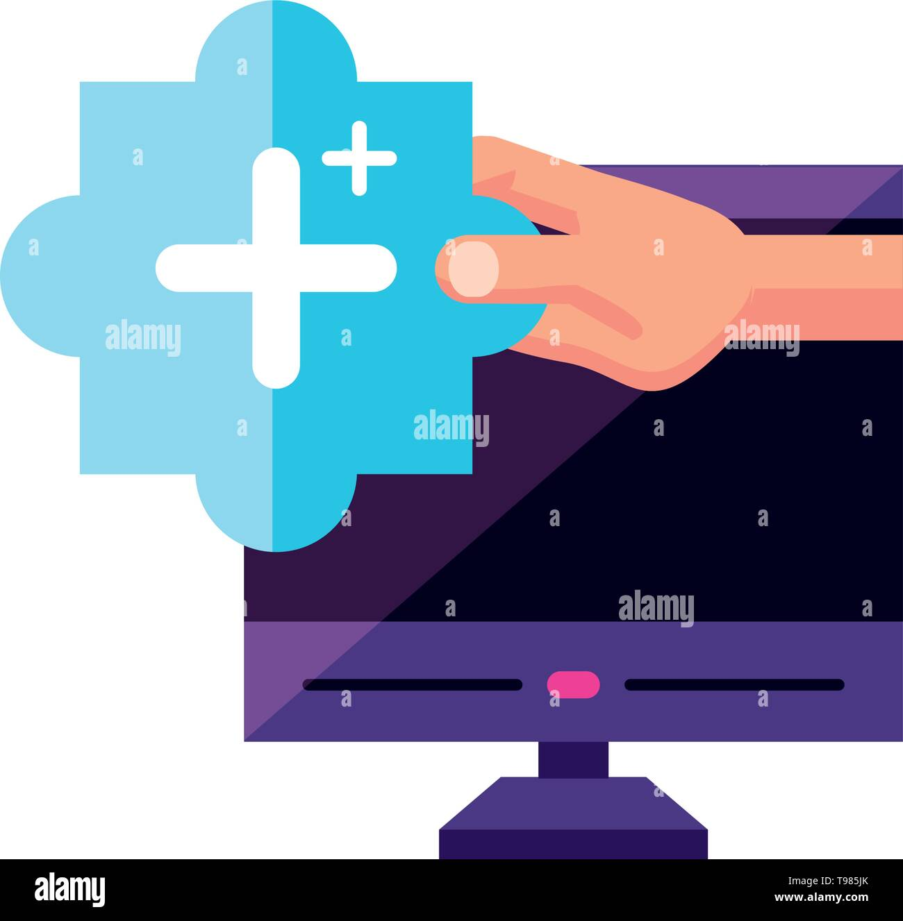 desktop with user hand and plus symbol vector illustration design - Stock Image