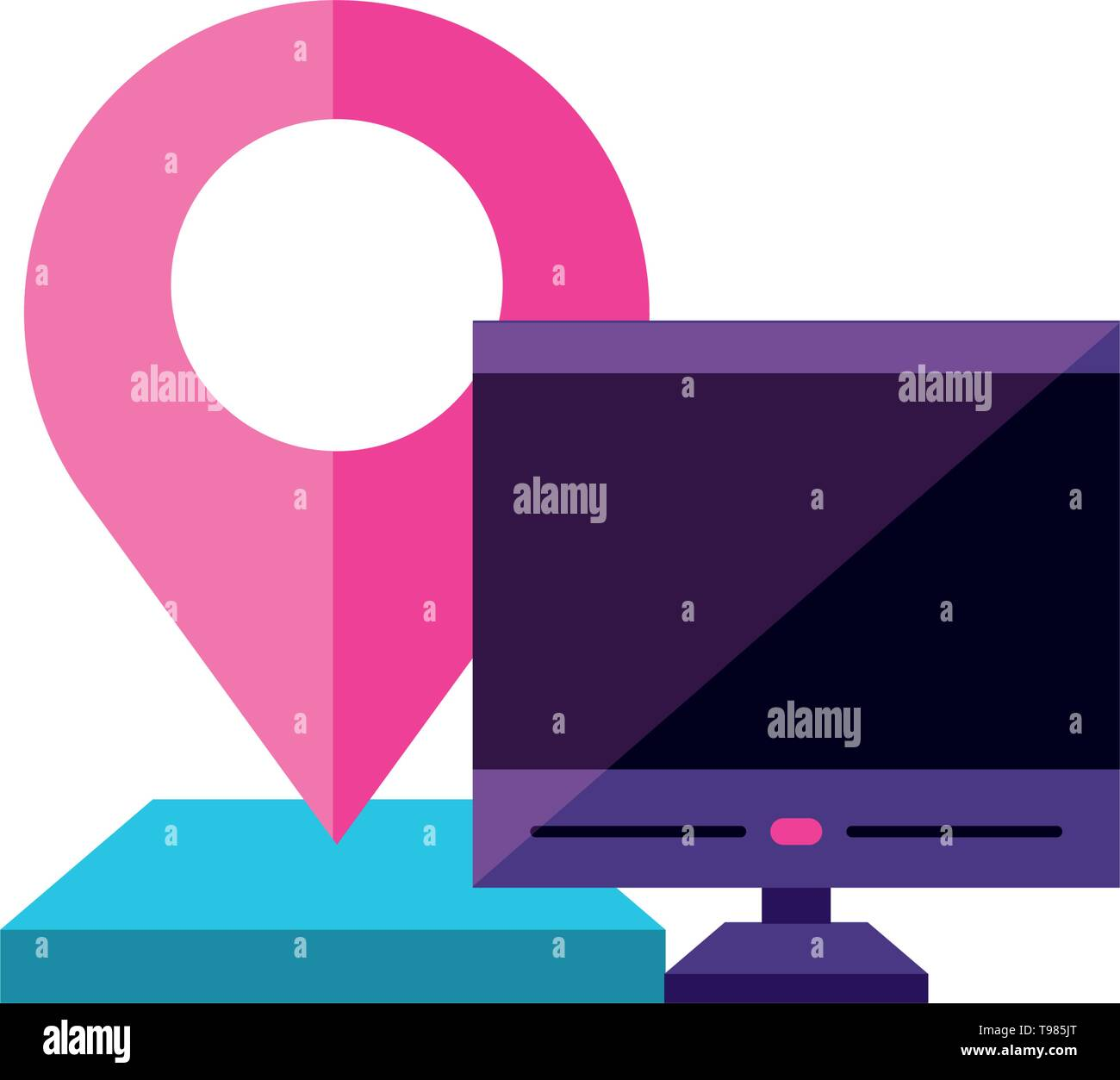 desktop with pin location gps app vector illustration design - Stock Image