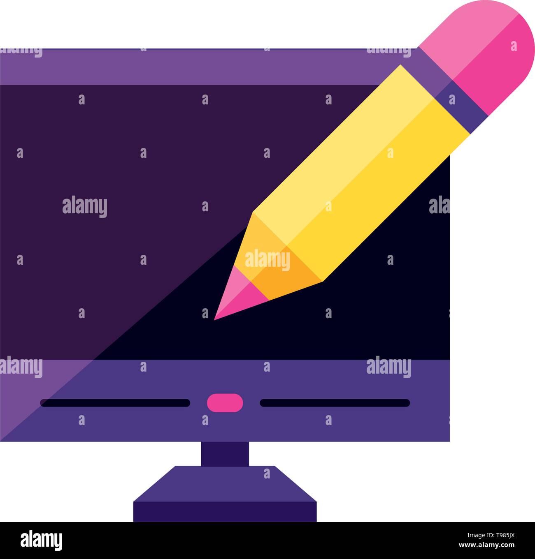 desktop computer with pencil vector illustration design - Stock Image