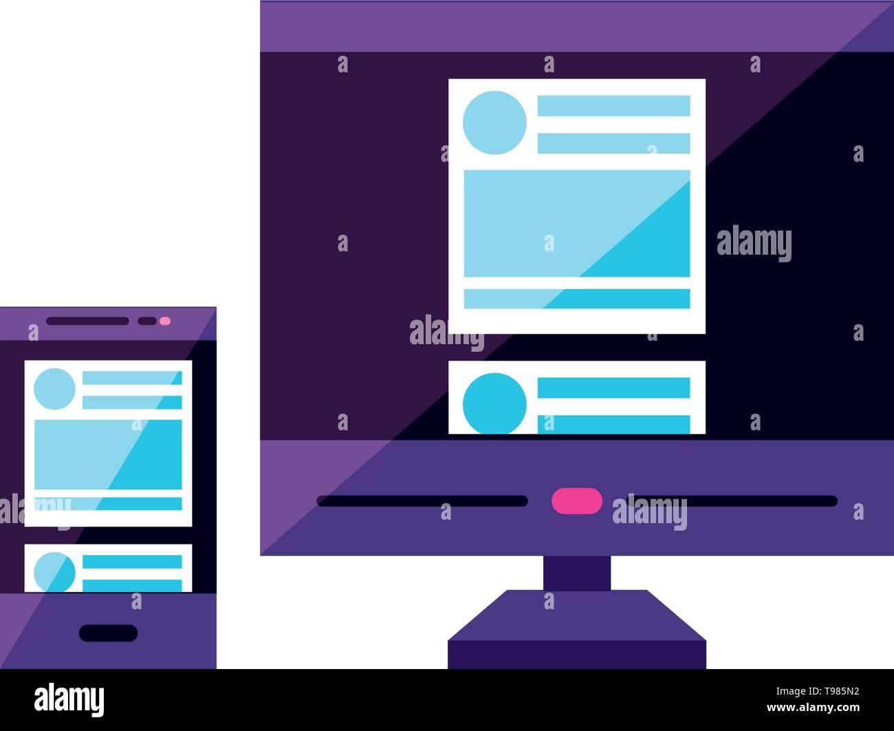 desktop computer device with smartphone vector illustration design - Stock Image