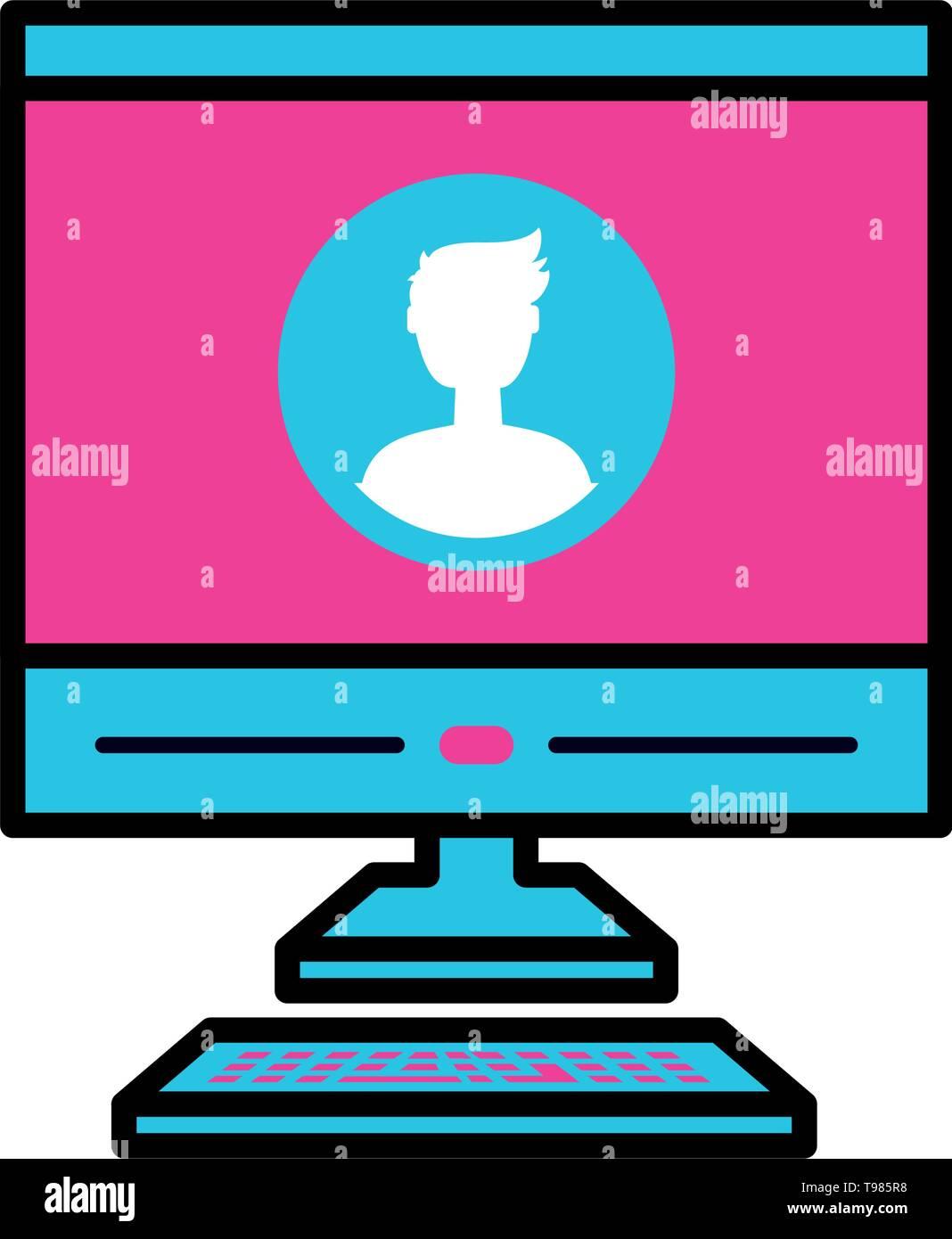 desktop computer device icon vector illustration design - Stock Image