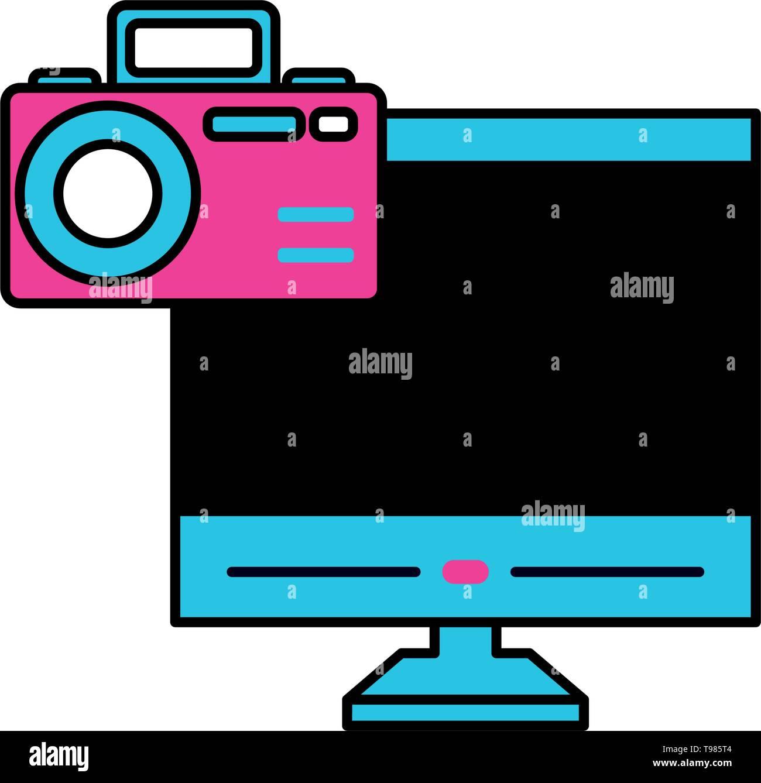 desktop with camera photographic app vector illustration design - Stock Image