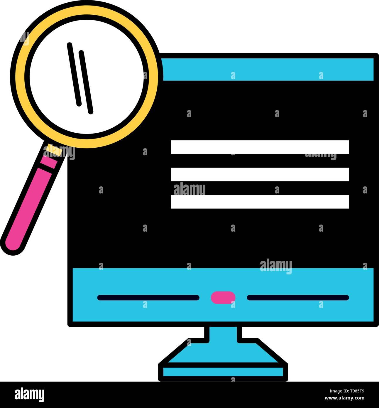 desktop with magnifying glass vector illustration design - Stock Image