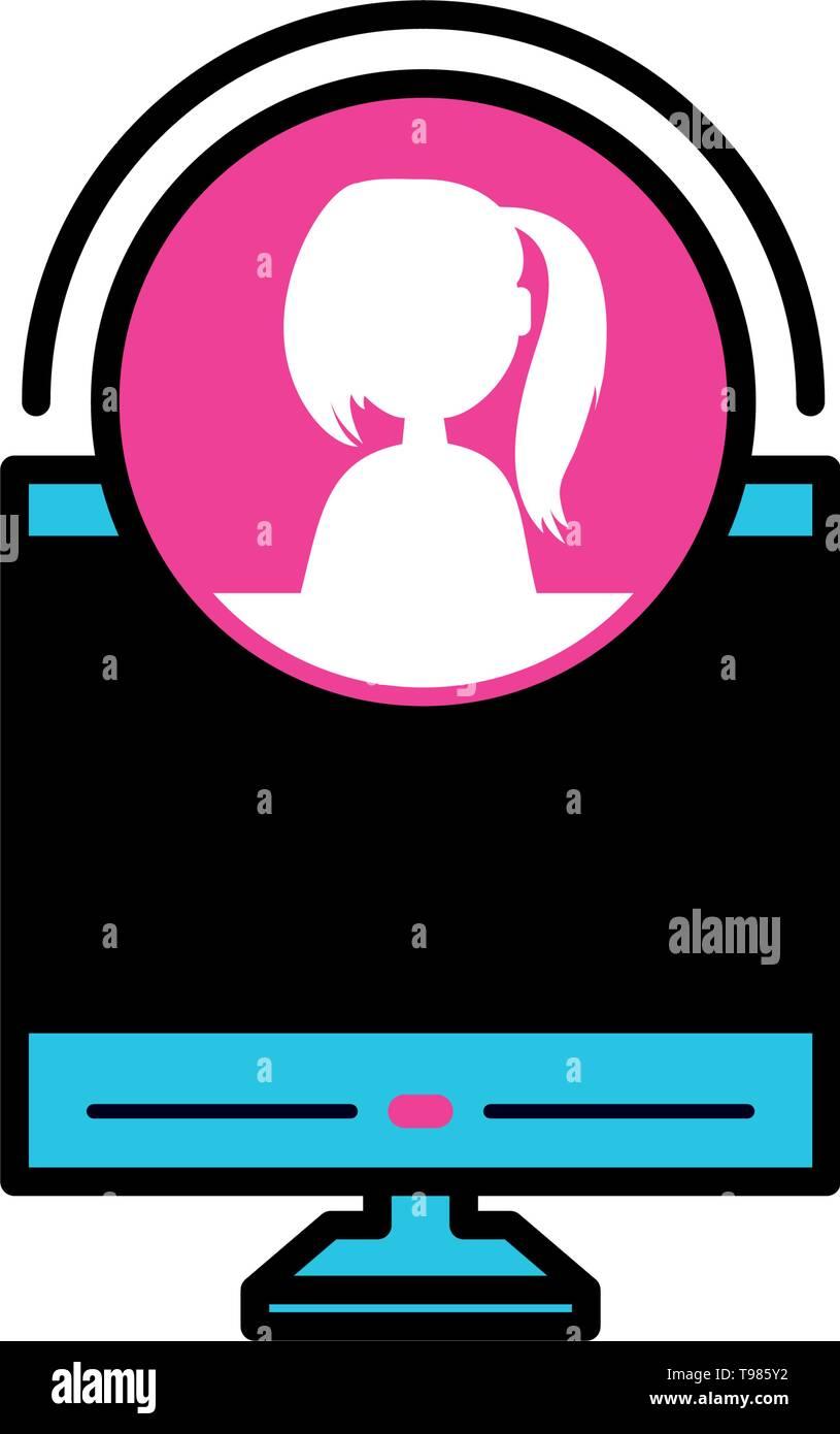 desktop with female profile acount vector illustration design - Stock Image
