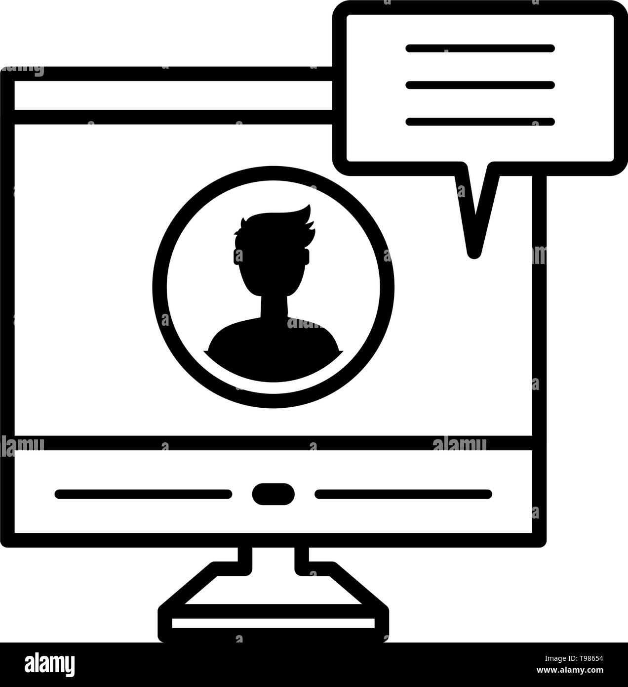 desktop with male profile acount vector illustration design - Stock Image