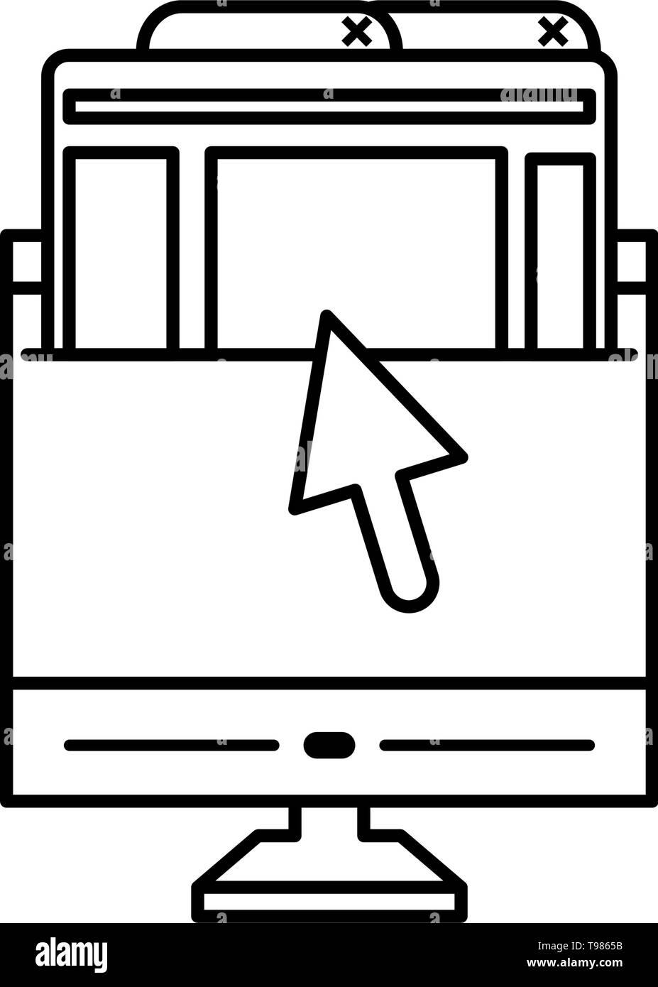 desktop with webpages templates vector illustration design - Stock Image