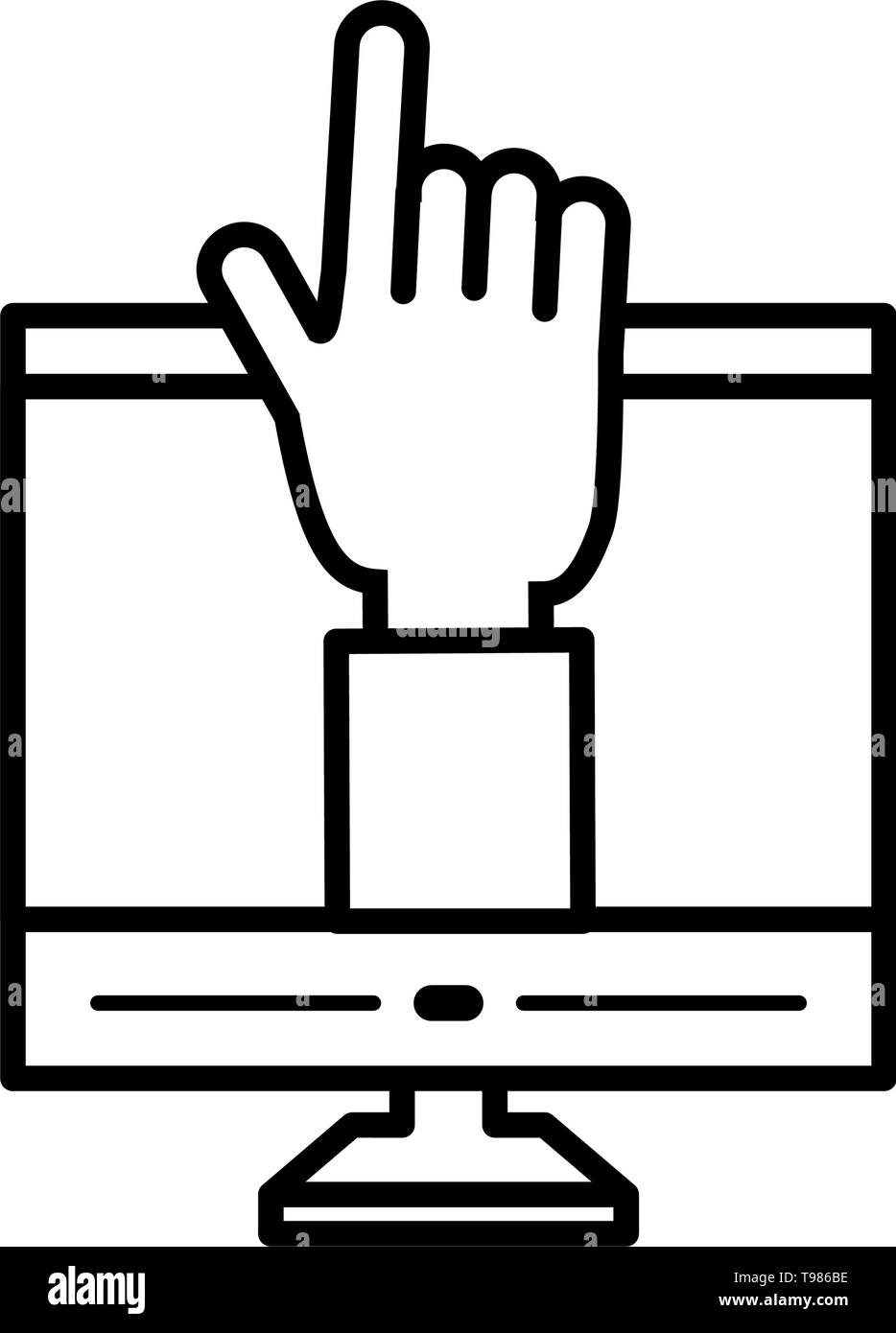 desktop computer with hand human vector illustration design - Stock Image