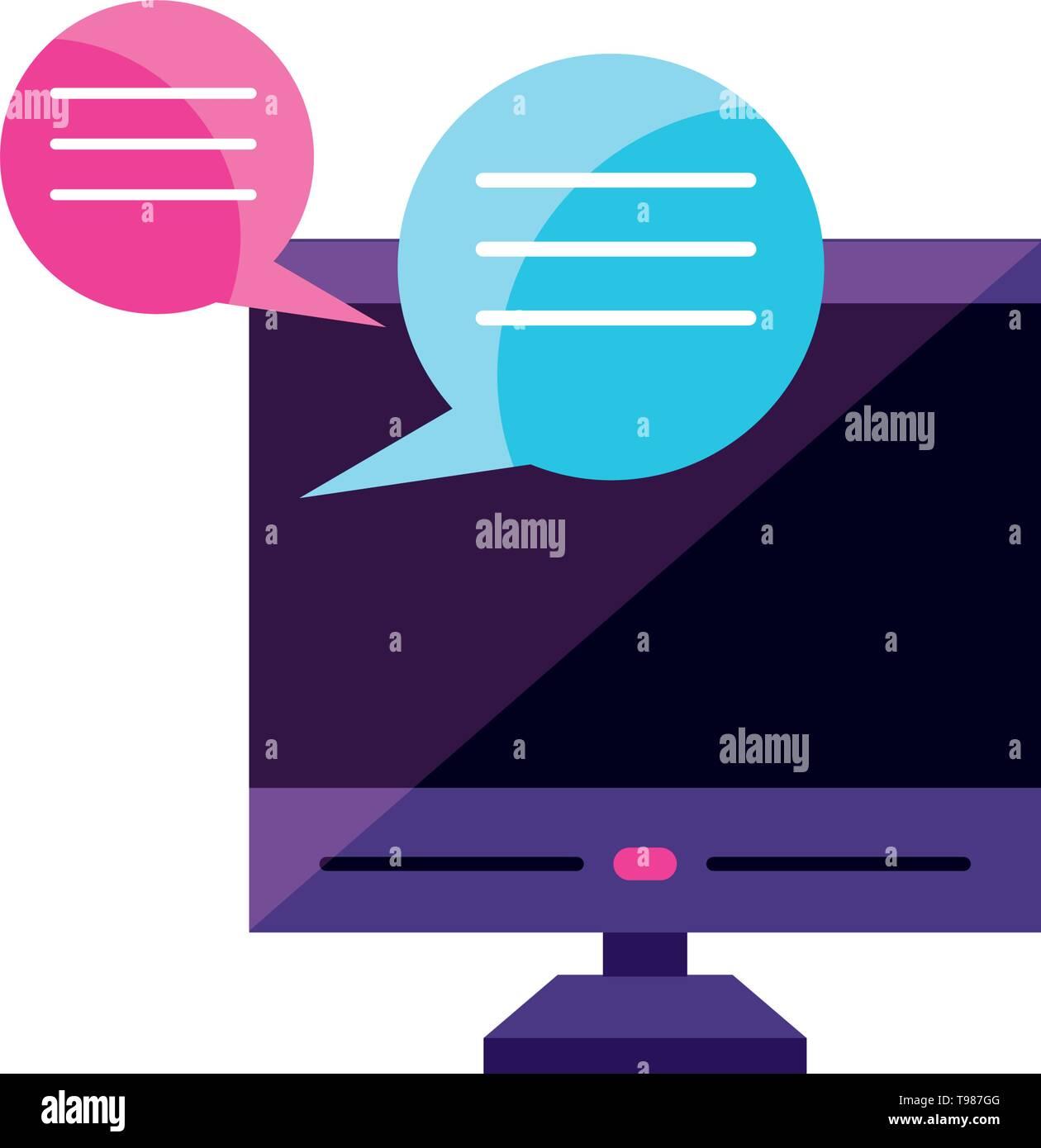 desktop with chat bubbles app vector illustration design - Stock Image