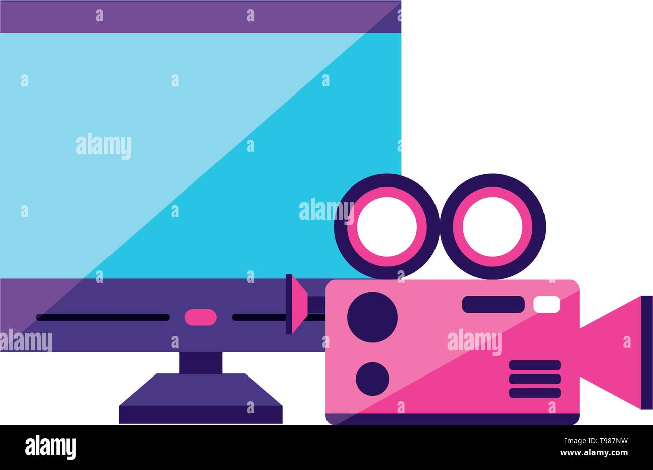 desktop with camera video app vector illustration design - Stock Image