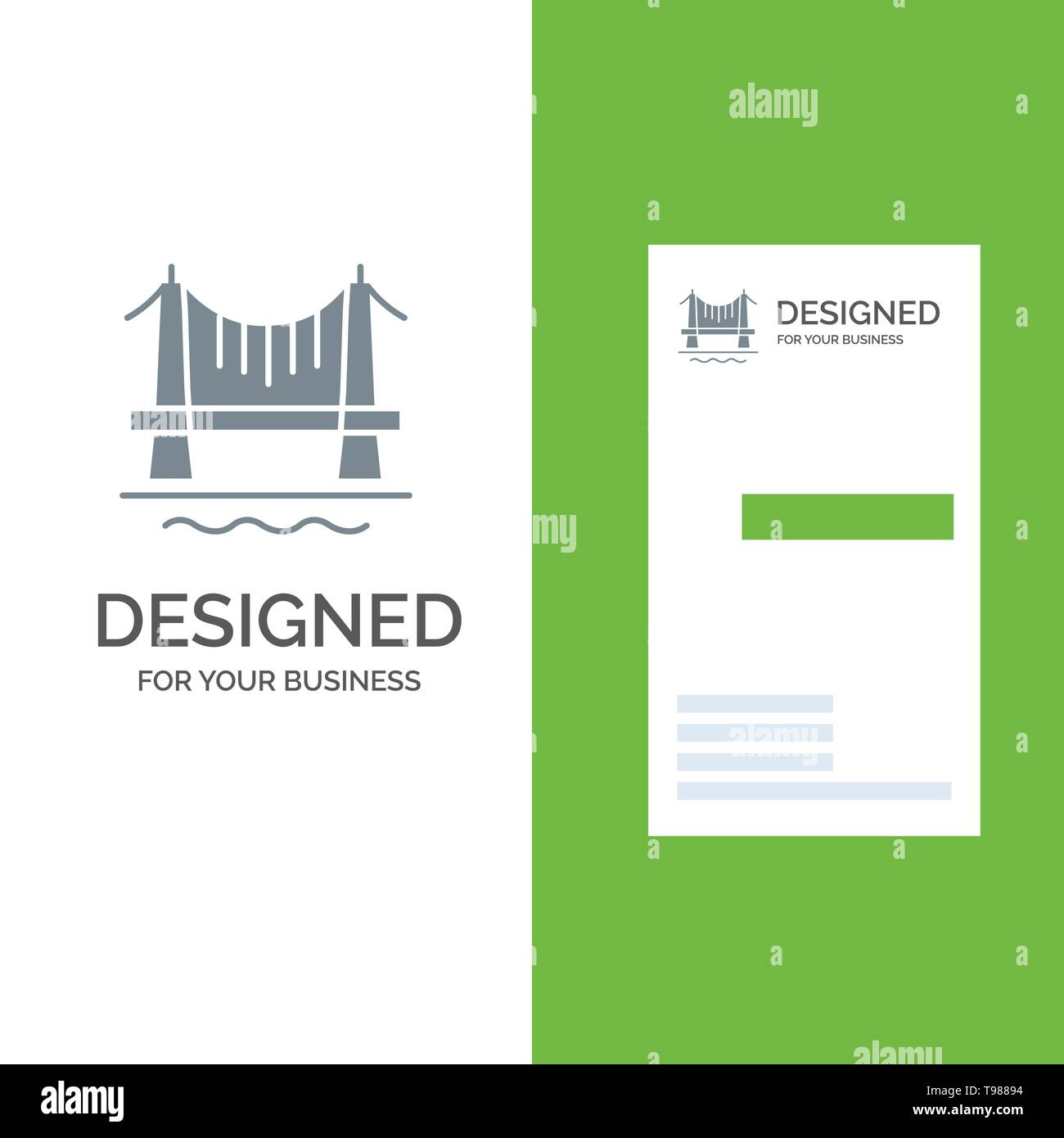 Bridge, Building, City, Cityscape Grey Logo Design and Business Card Template - Stock Image