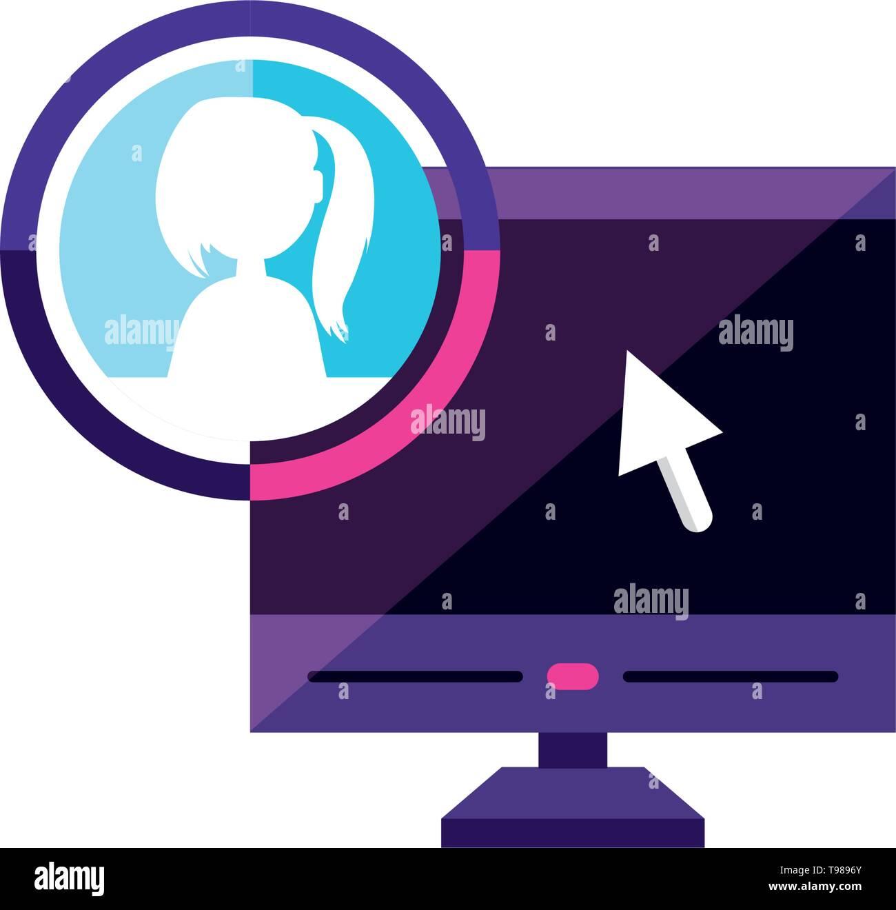 desktop with female profile account  vector illustration design - Stock Image
