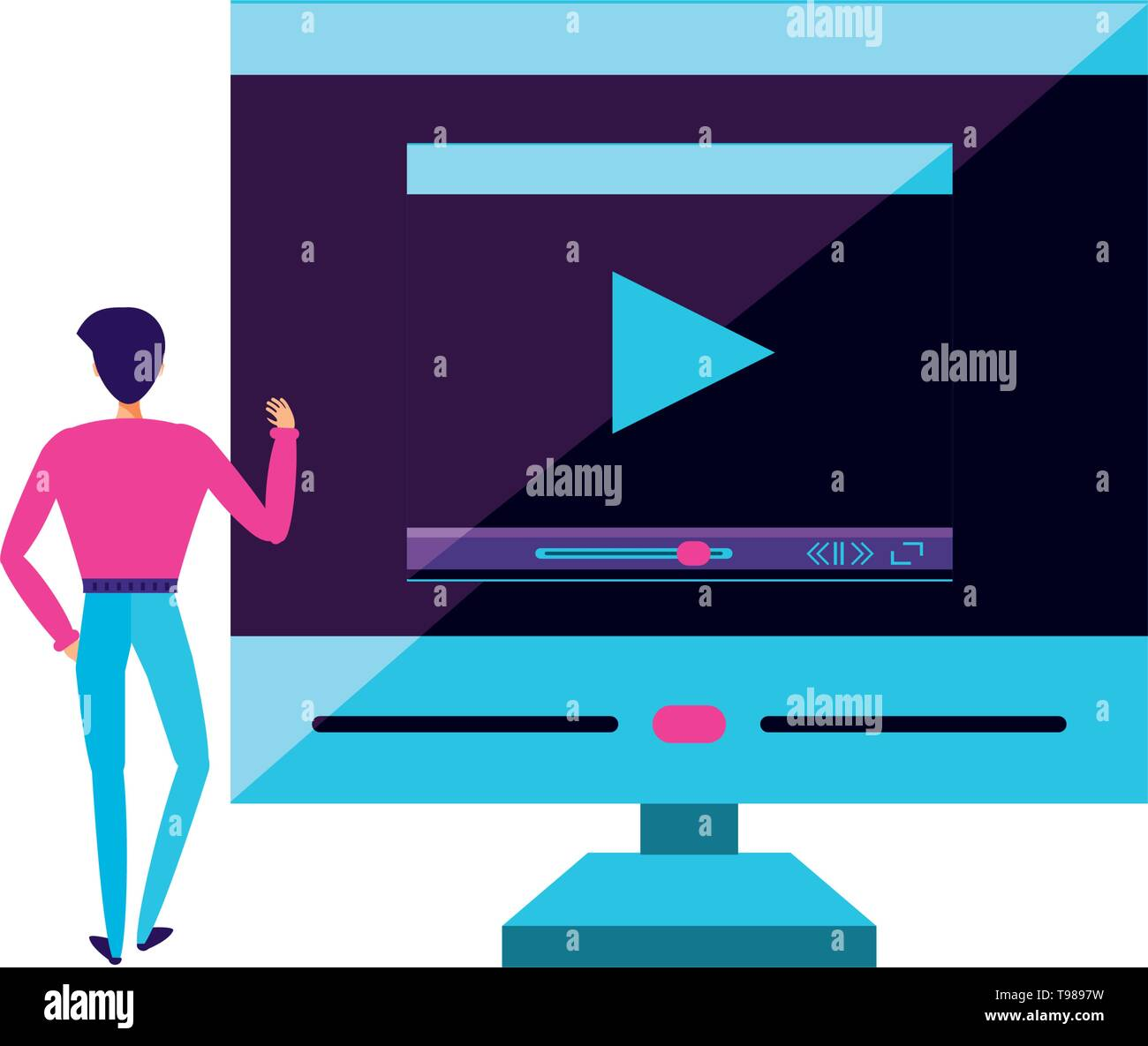 young man with desktop computer vector illustration design - Stock Image