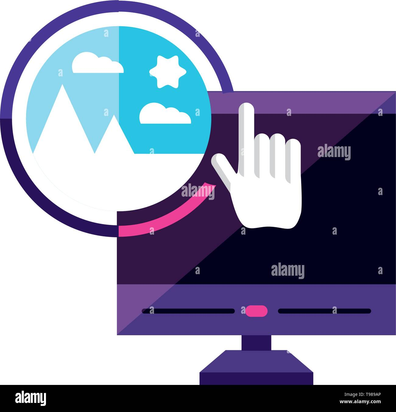 desktop with picture manager app vector illustration design - Stock Image