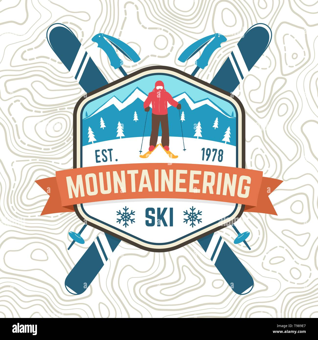 Mountaineering ski patch. Vector ski club retro badge. Concept for alpine club shirt, print, stamp. Vintage typography design with mountain silhouette and skier. Family vacation, activity or travel. Stock Vector