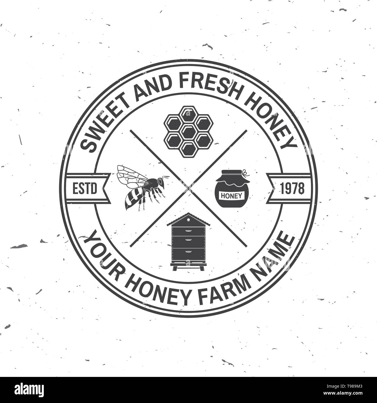 Honey farm badge. Vector illustration. Concept for shirt, print, stamp or tee. Vintage typography design with bee, hive and honey dipper silhouette. Retro design for honey bee farm business - Stock Image