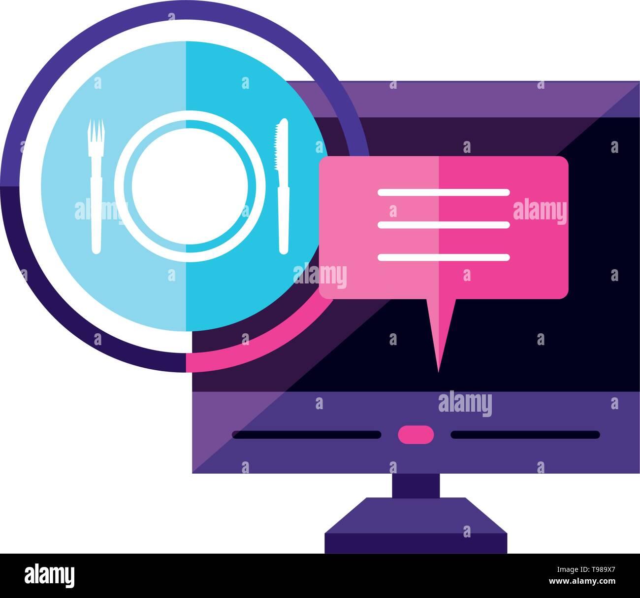 desktop with restaurant app vector illustration design - Stock Image