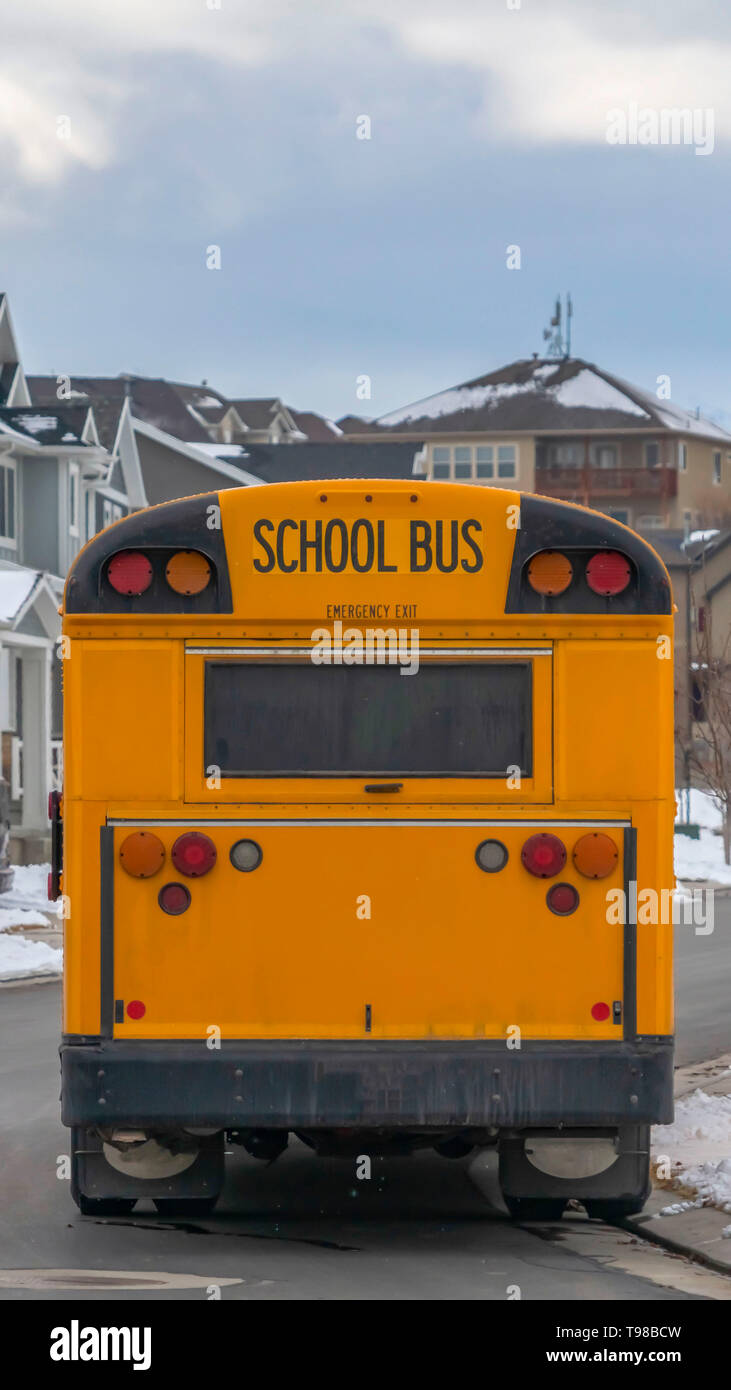 Vertical Rear view of a yellow school bus with a window and several signal lights - Stock Image