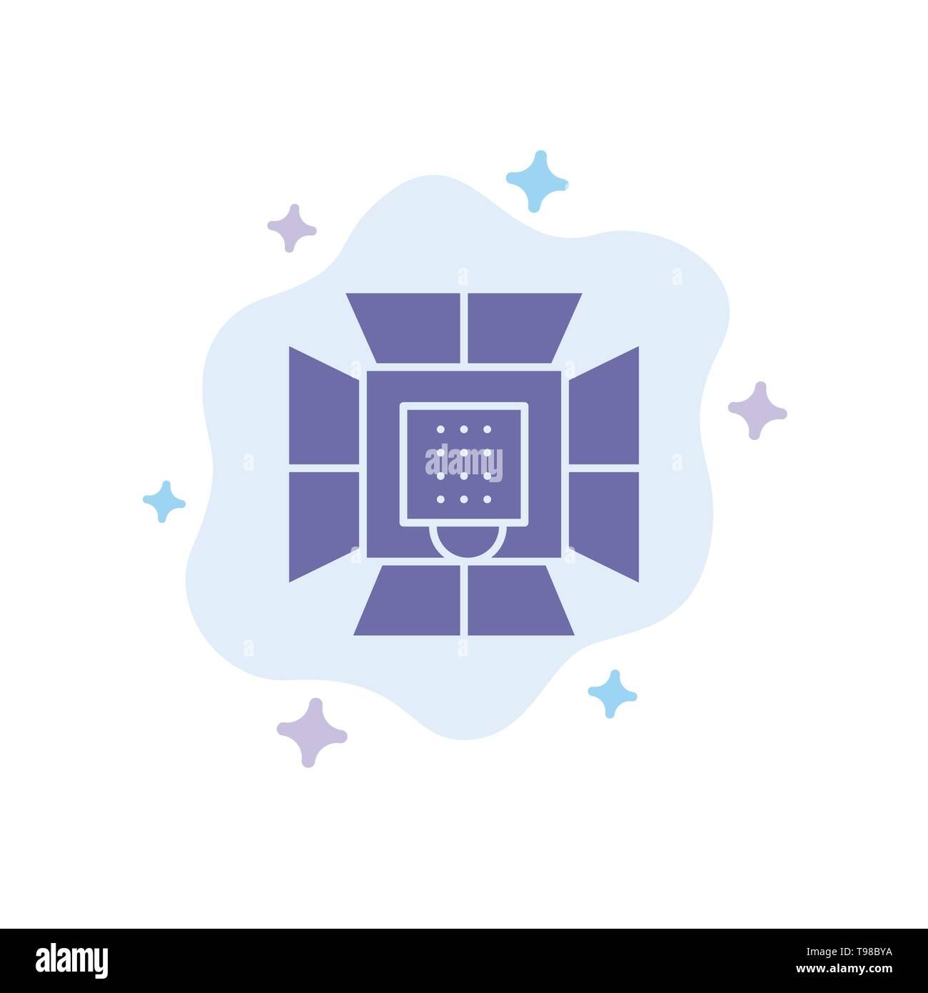 Illumination, Light, Lighting, Professional, Soft box Blue Icon on Abstract Cloud Background - Stock Image