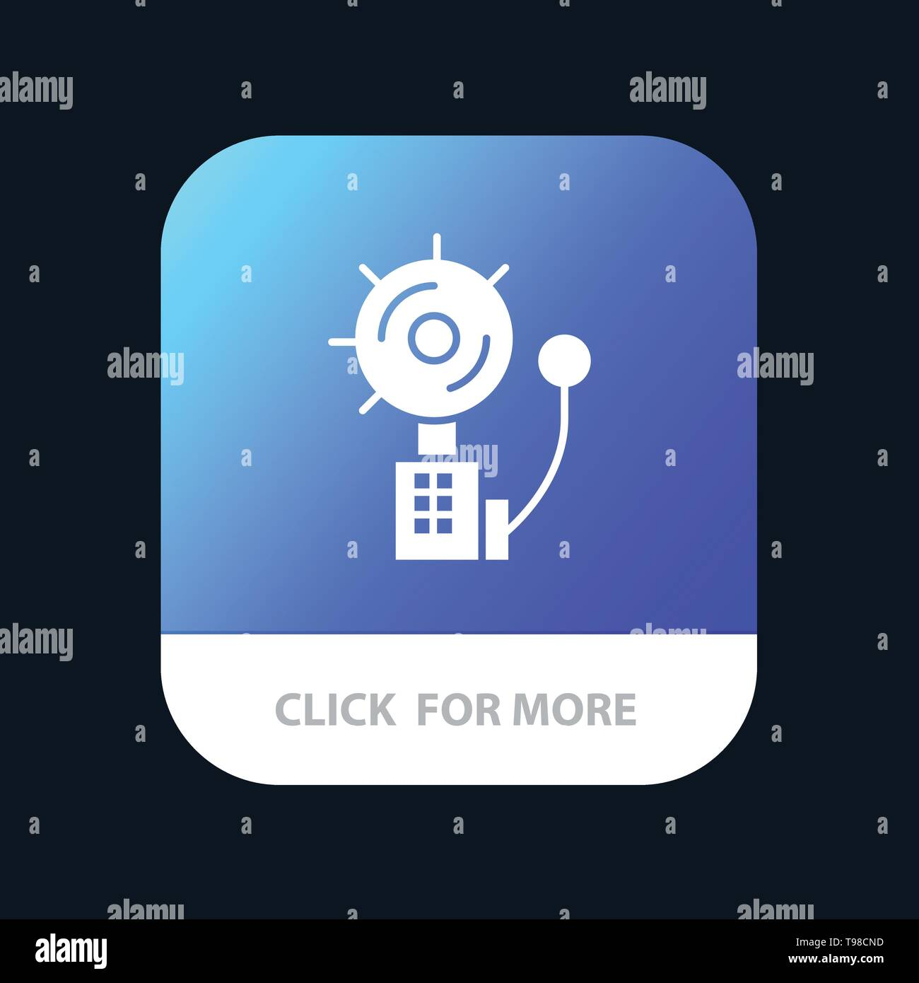 Alarm, Alert, Bell, Fire, Intruder Mobile App Button. Android and IOS Glyph Version - Stock Image