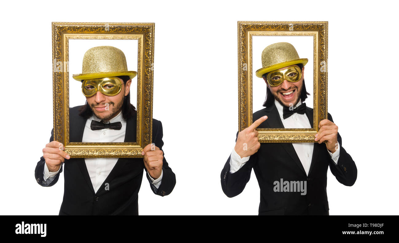 Funny man with picture frame on white - Stock Image