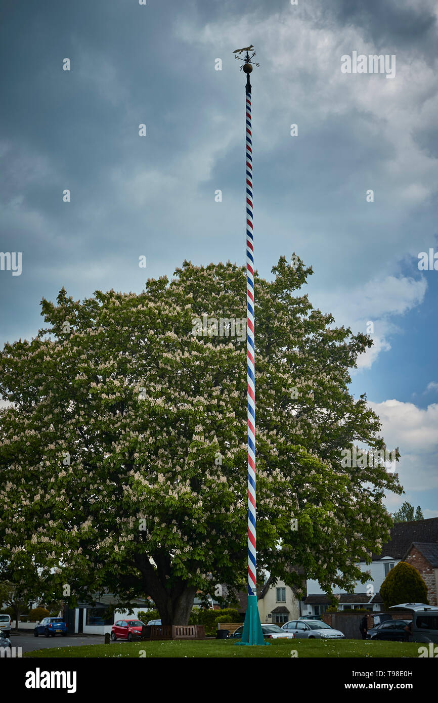 Welford-on-Avon maypole (one of the tallest in the UK), Warwickshire, England, United Kingdom, Europe - Stock Image