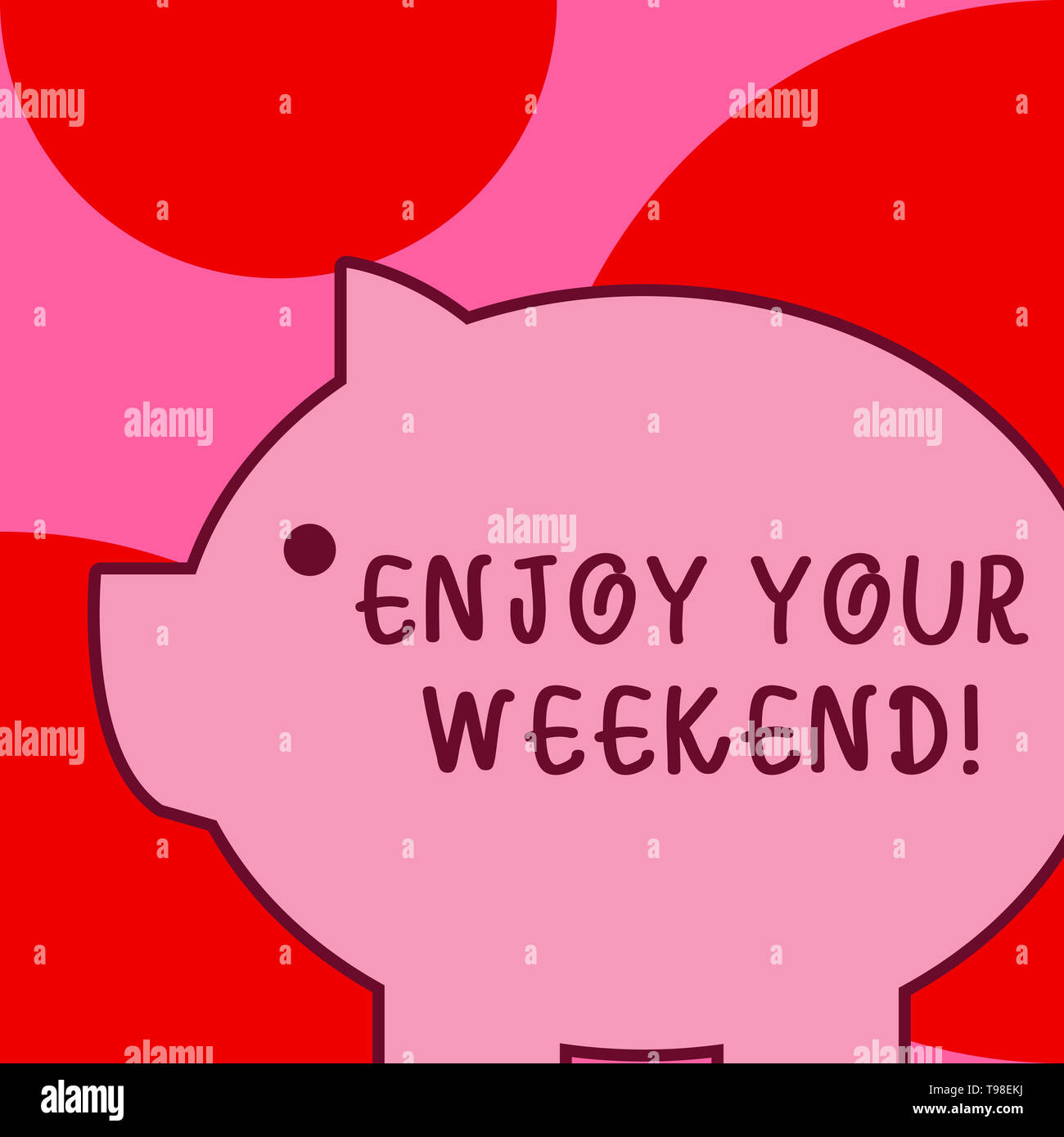 Conceptual hand writing showing Enjoy Your Weekend. Concept meaning wishing someone that something nice will happen at holiday - Stock Image
