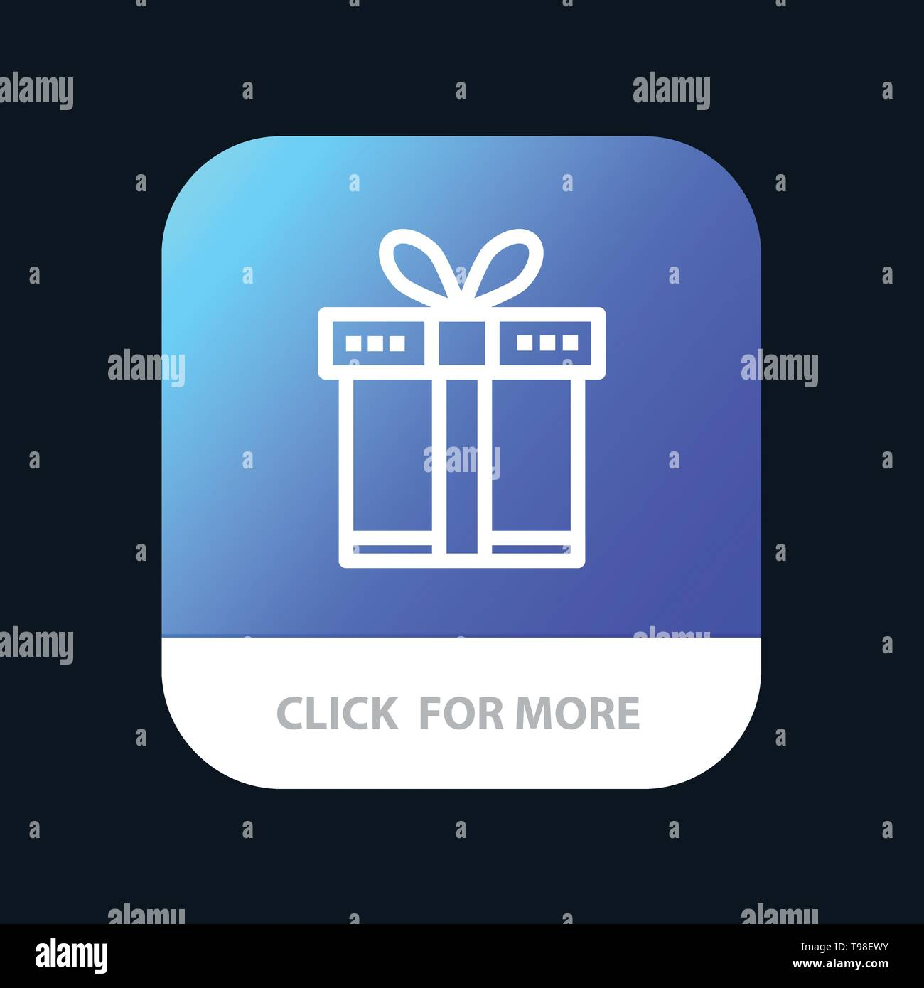 Gift, Box, Shopping, Ribbon Mobile App Button  Android and IOS Line