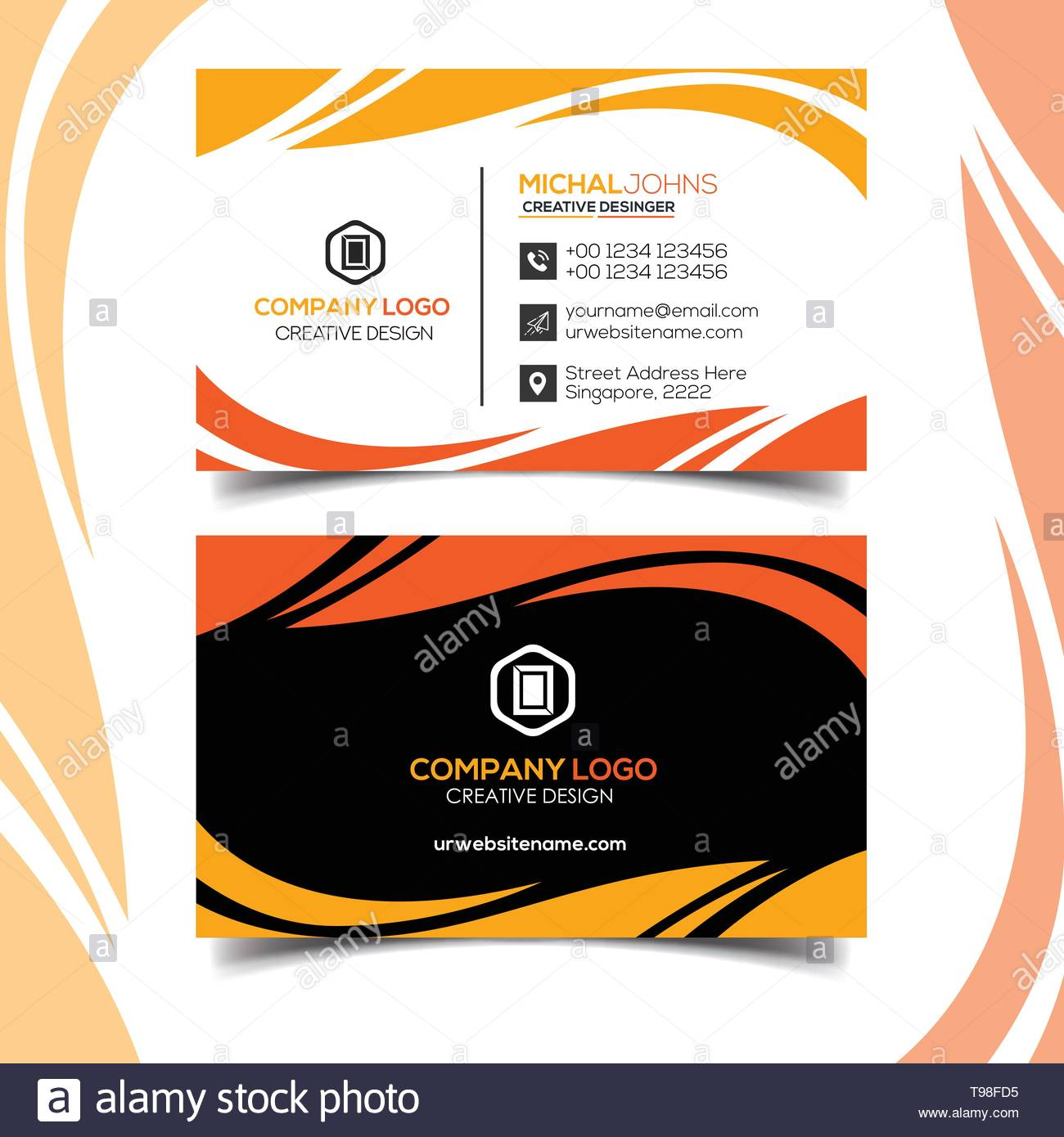 Profeesional Business Card Design Ornage Color - Stock Image