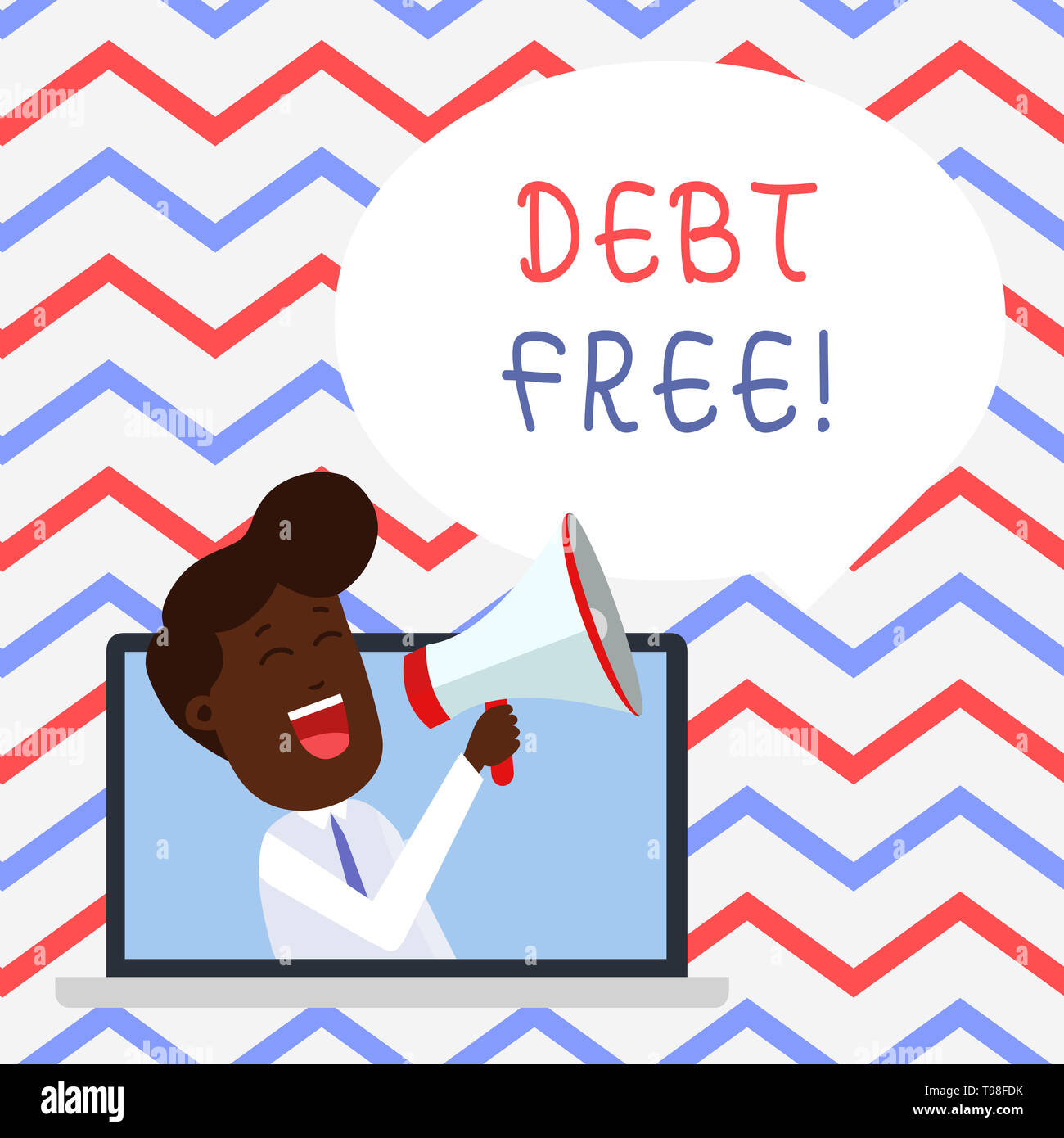 Handwriting text Debt Free. Conceptual photo does not owning any money or things to any individual or companies - Stock Image