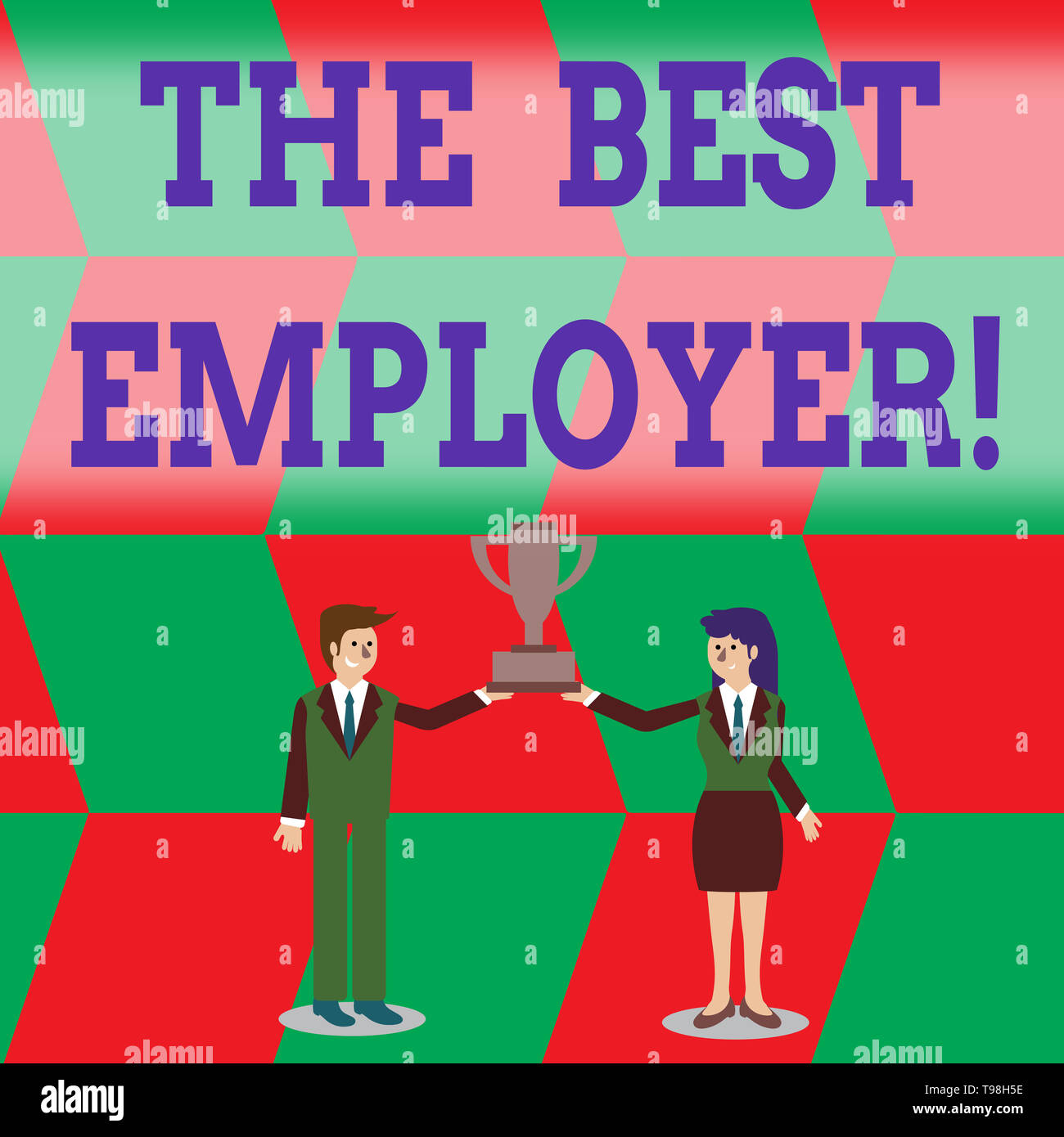 Writing note showing The Best Employer. Business concept for created workplace showing feel heard and empowered Man and Woman Business Suit Holding Ch - Stock Image