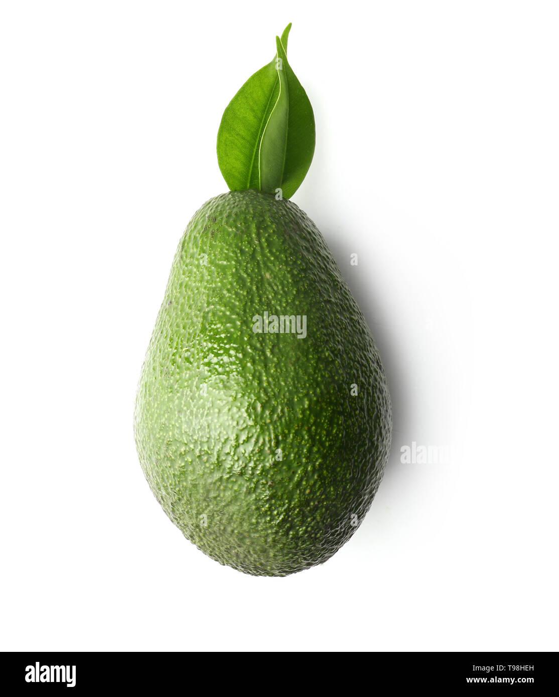 Ripe fresh avocado on white background - Stock Image